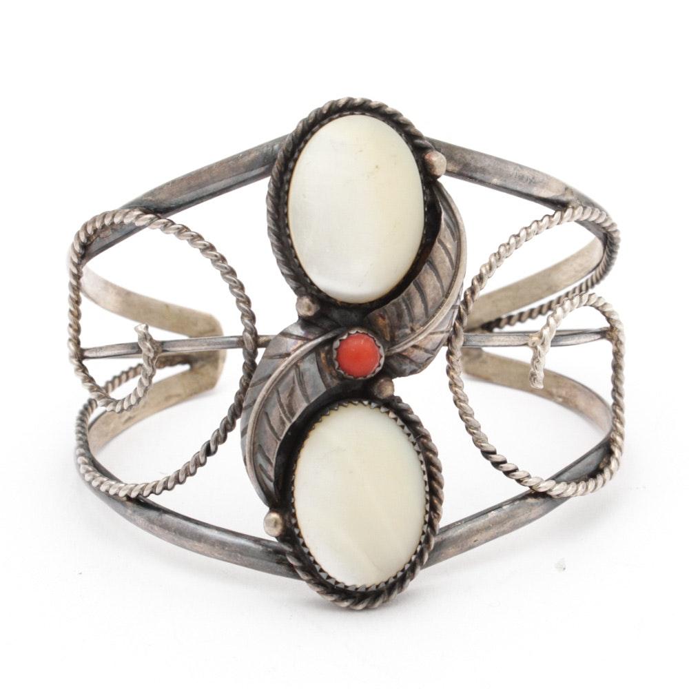 Elsie Yazzie Navajo Diné Sterling Silver Gemstone Cuff Bracelet