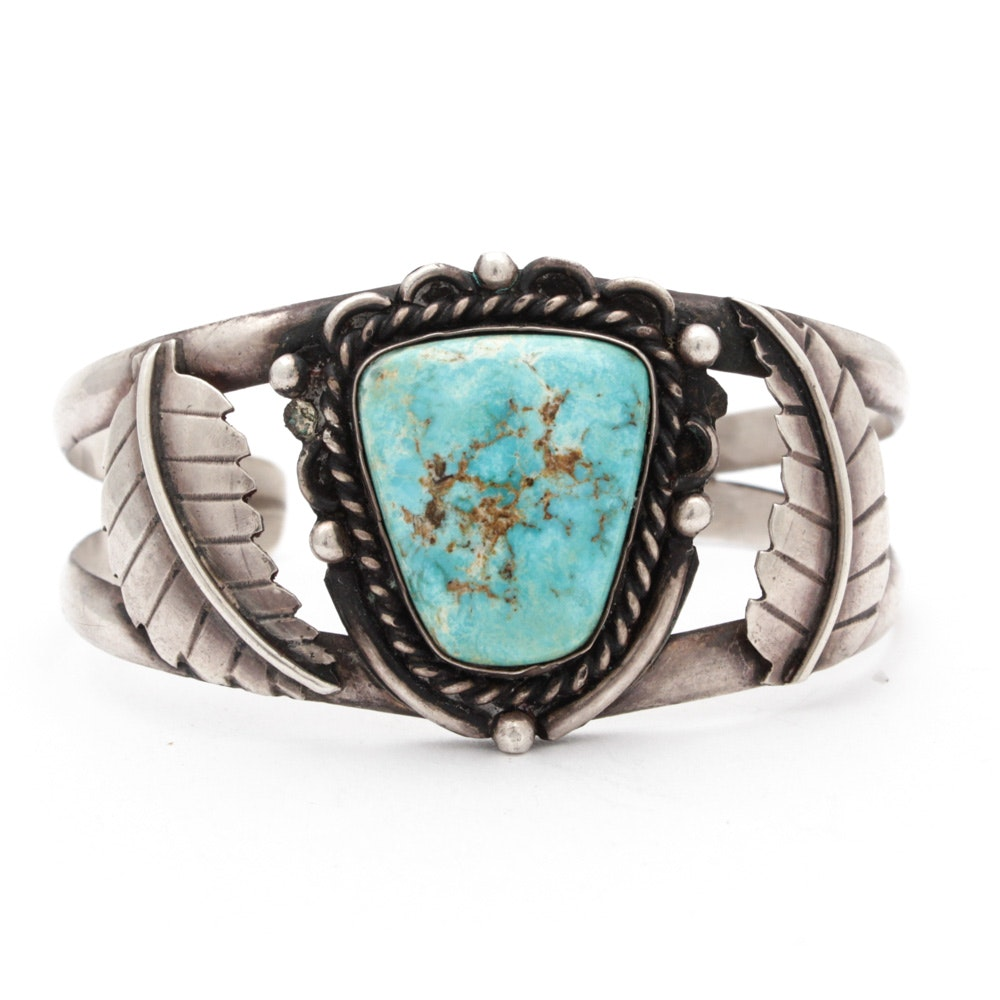 Southwestern Style Sterling Silver and Turquoise Cuff Bracelet