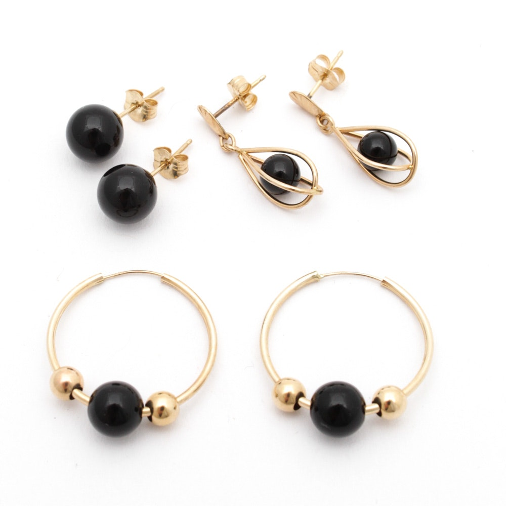 14K Yellow Gold and Onyx Bead Earrings
