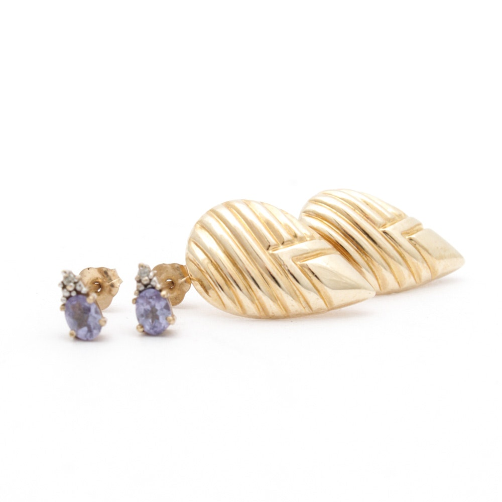 14K Yellow Gold and 10K Yellow Gold Gemstone Earrings
