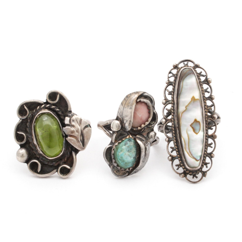 Sterling Silver Rings with Turquoise, Peridot and Mother of Pearl