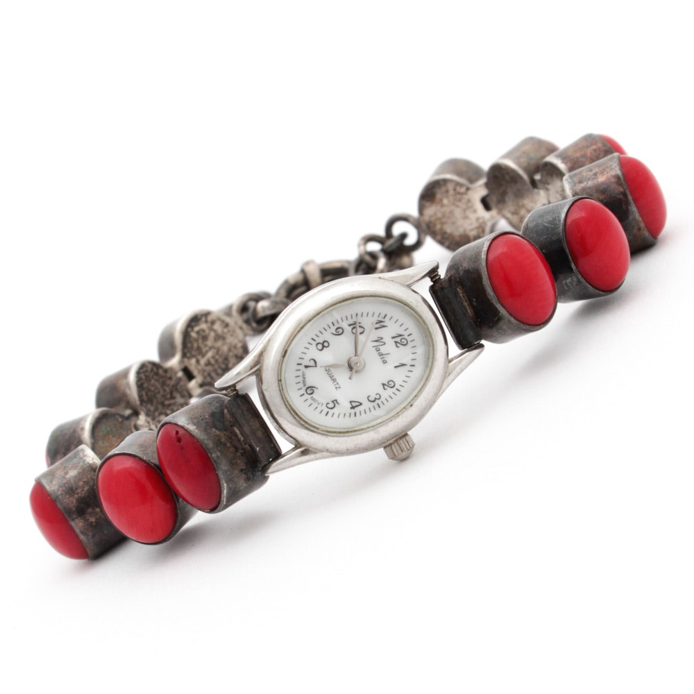 Sterling Silver and Coral Bracelet Wristwatch