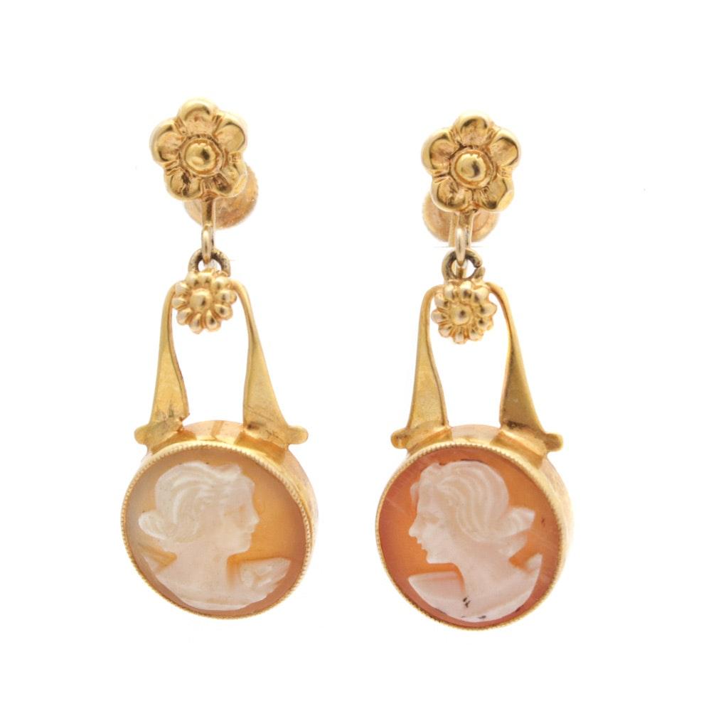 10K Yellow Gold Shell Cameo Earrings