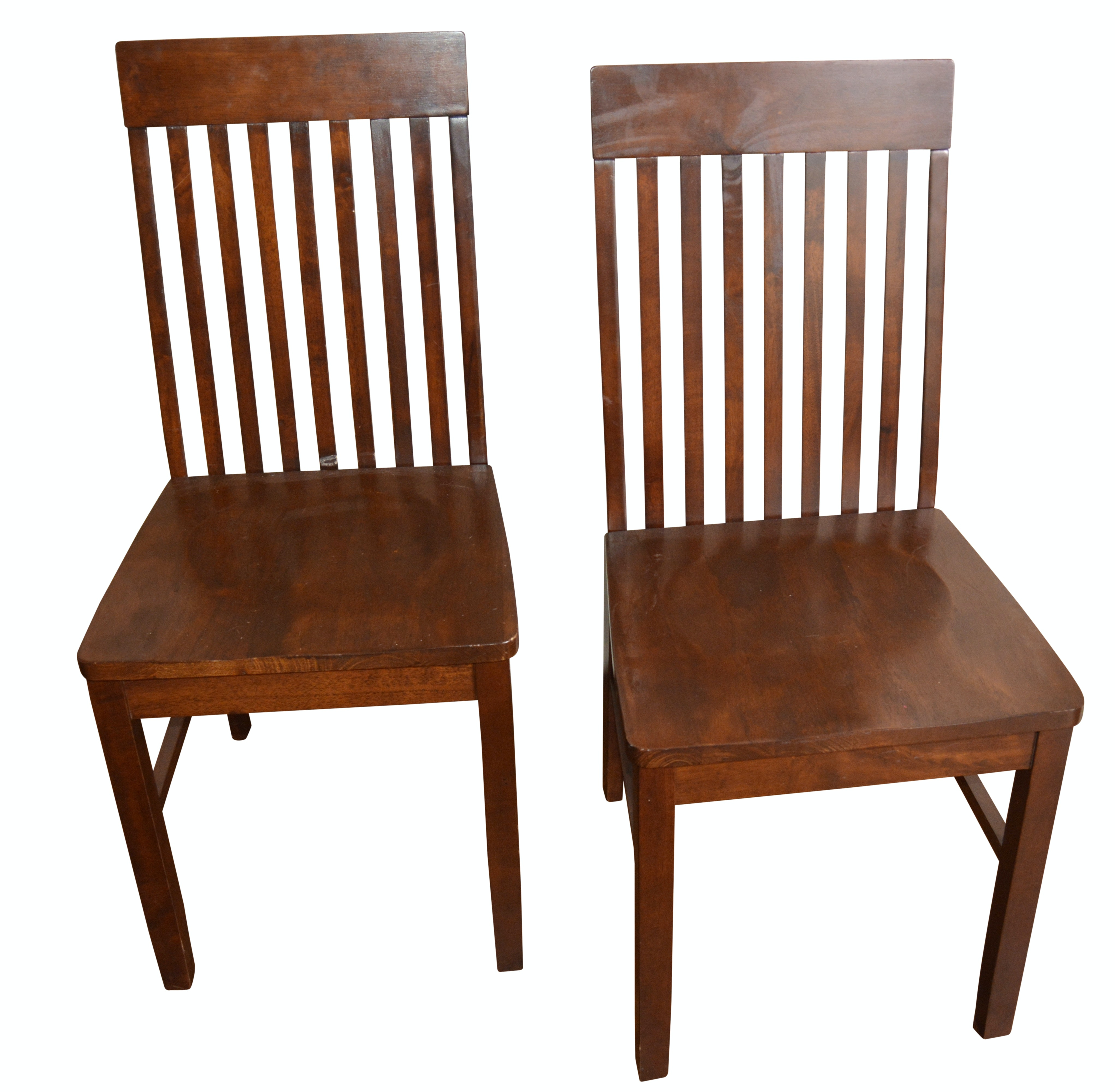 Contemporary Walnut Stained Wood Slat Back Side Chairs
