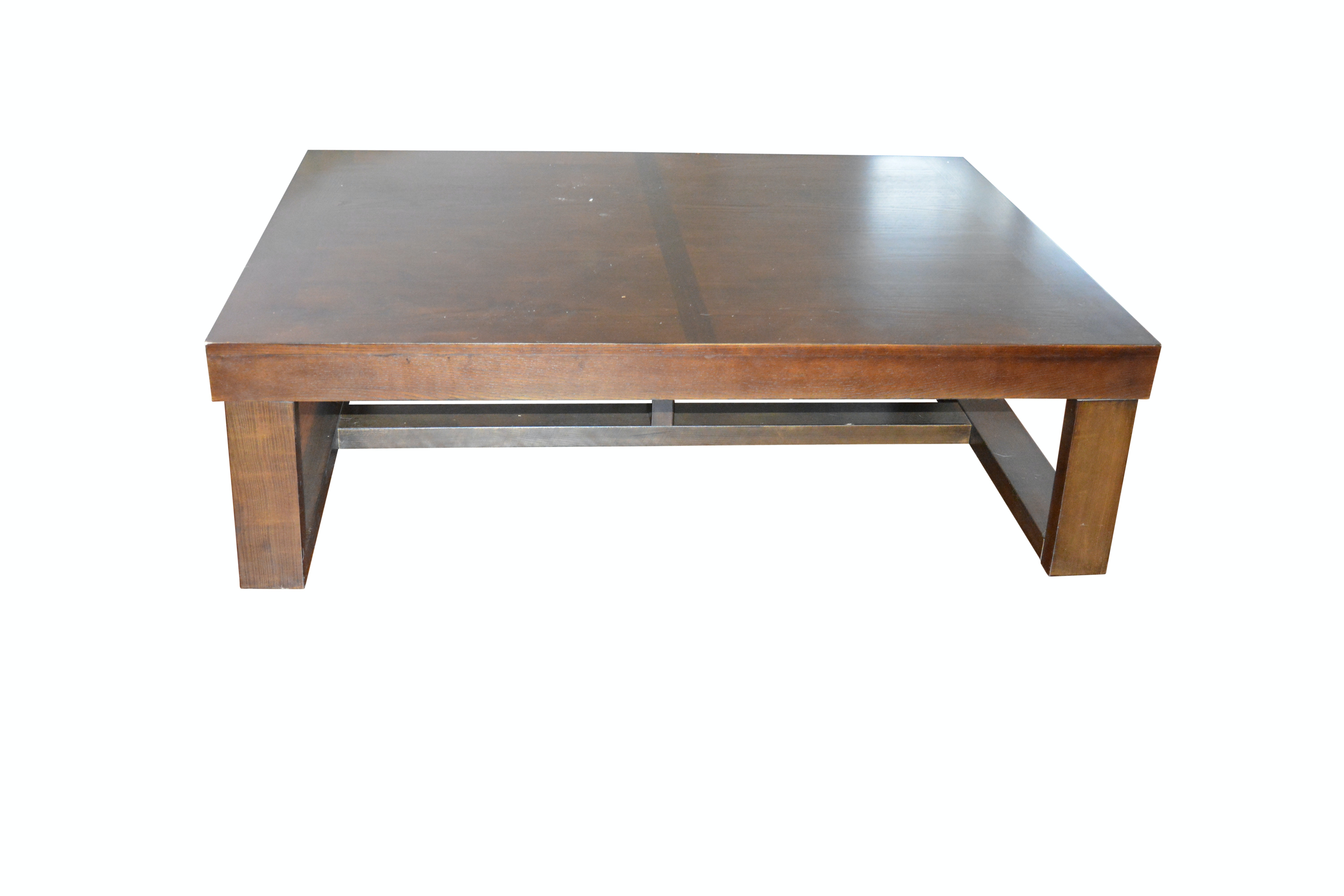 Contemporary Rectangular Wood Stained Cocktail Table