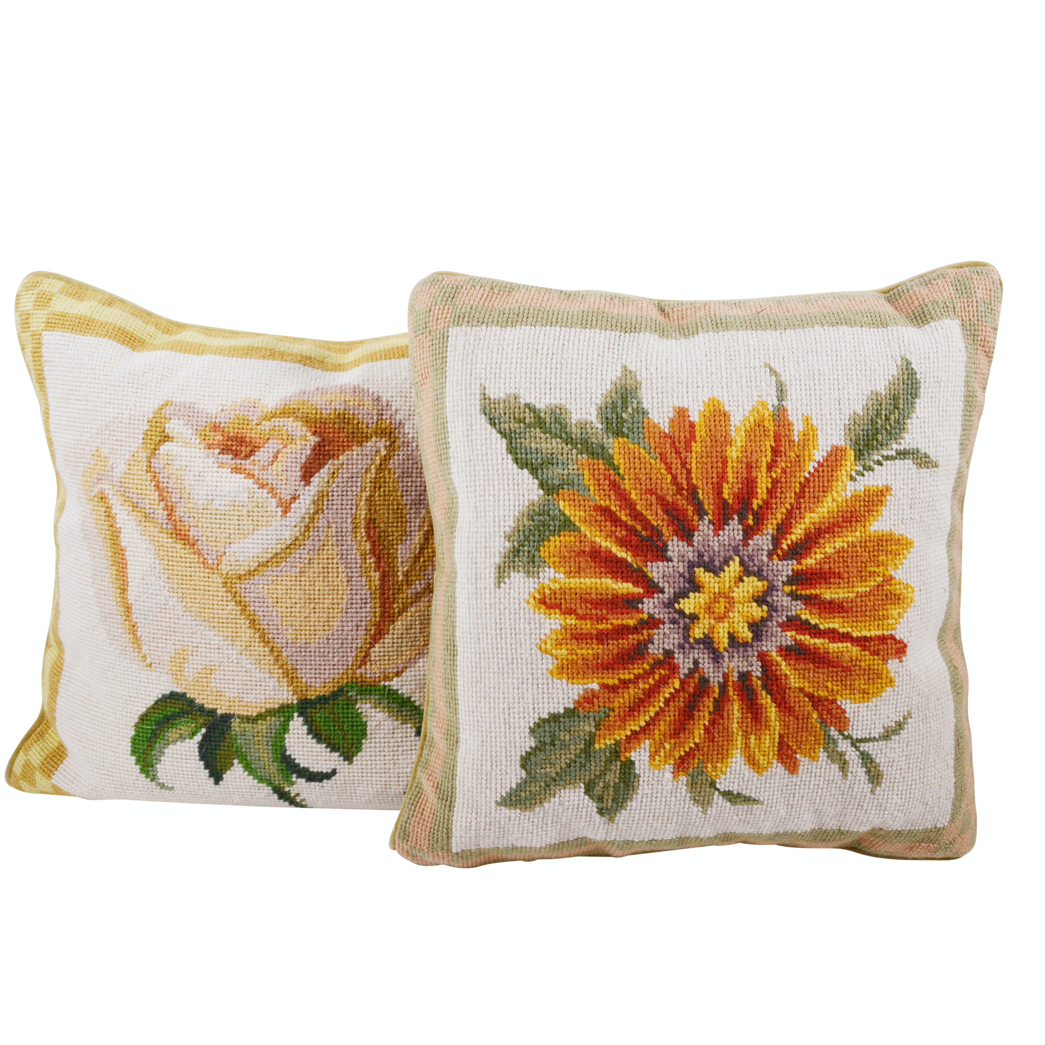 Two Floral Needlepoint Pillows