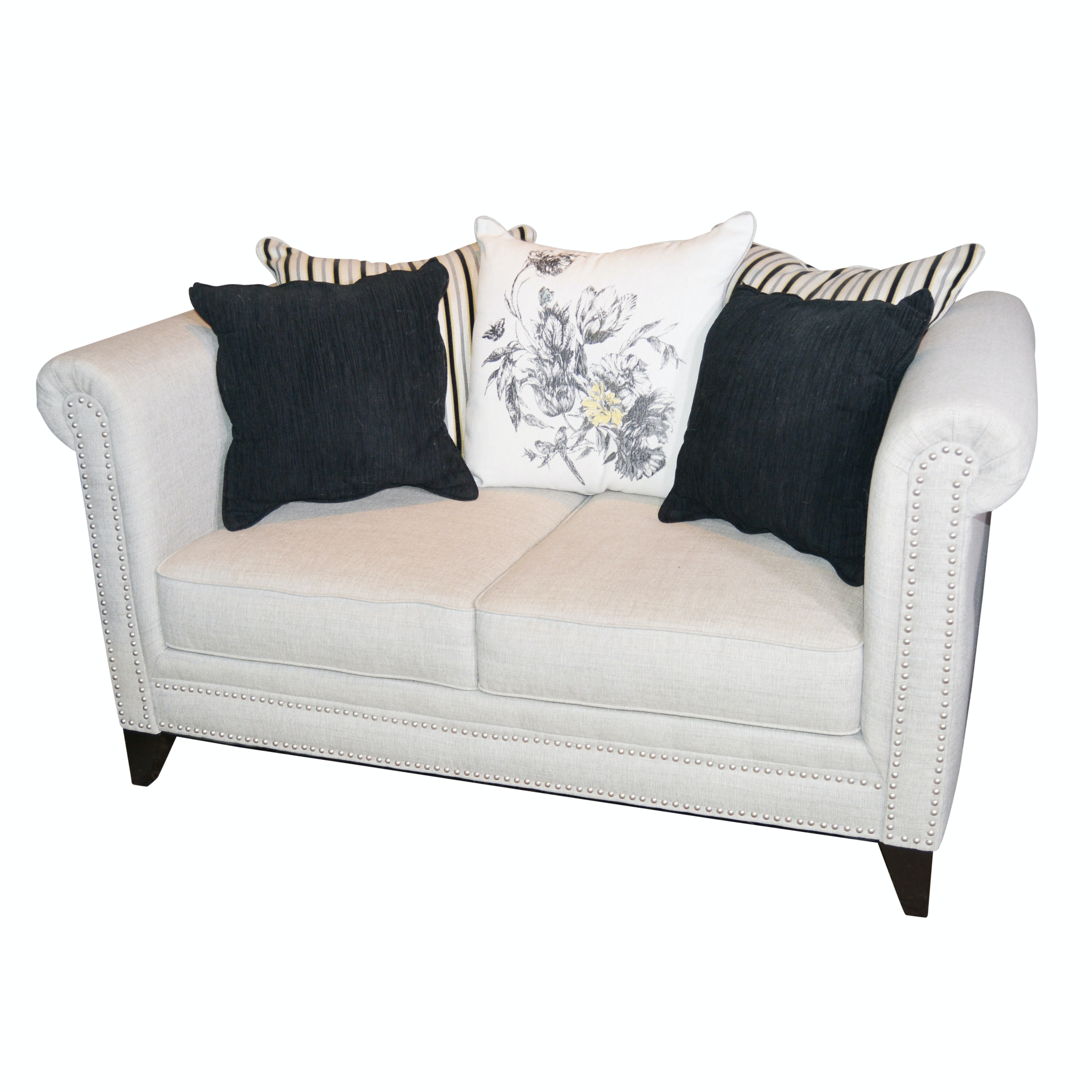 Gray Upholstered Love Seat