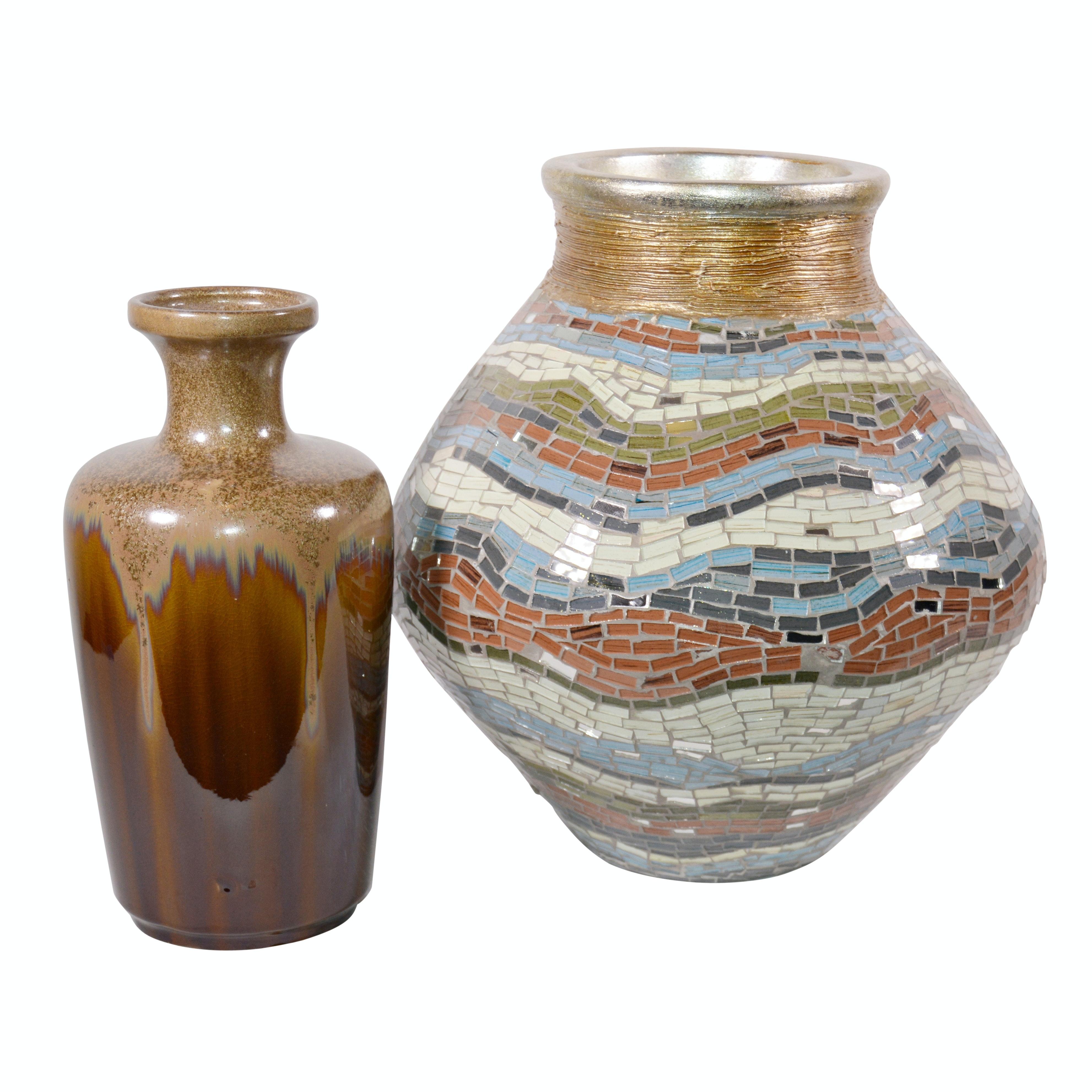 Mosaic Vase and Ceramic Vase