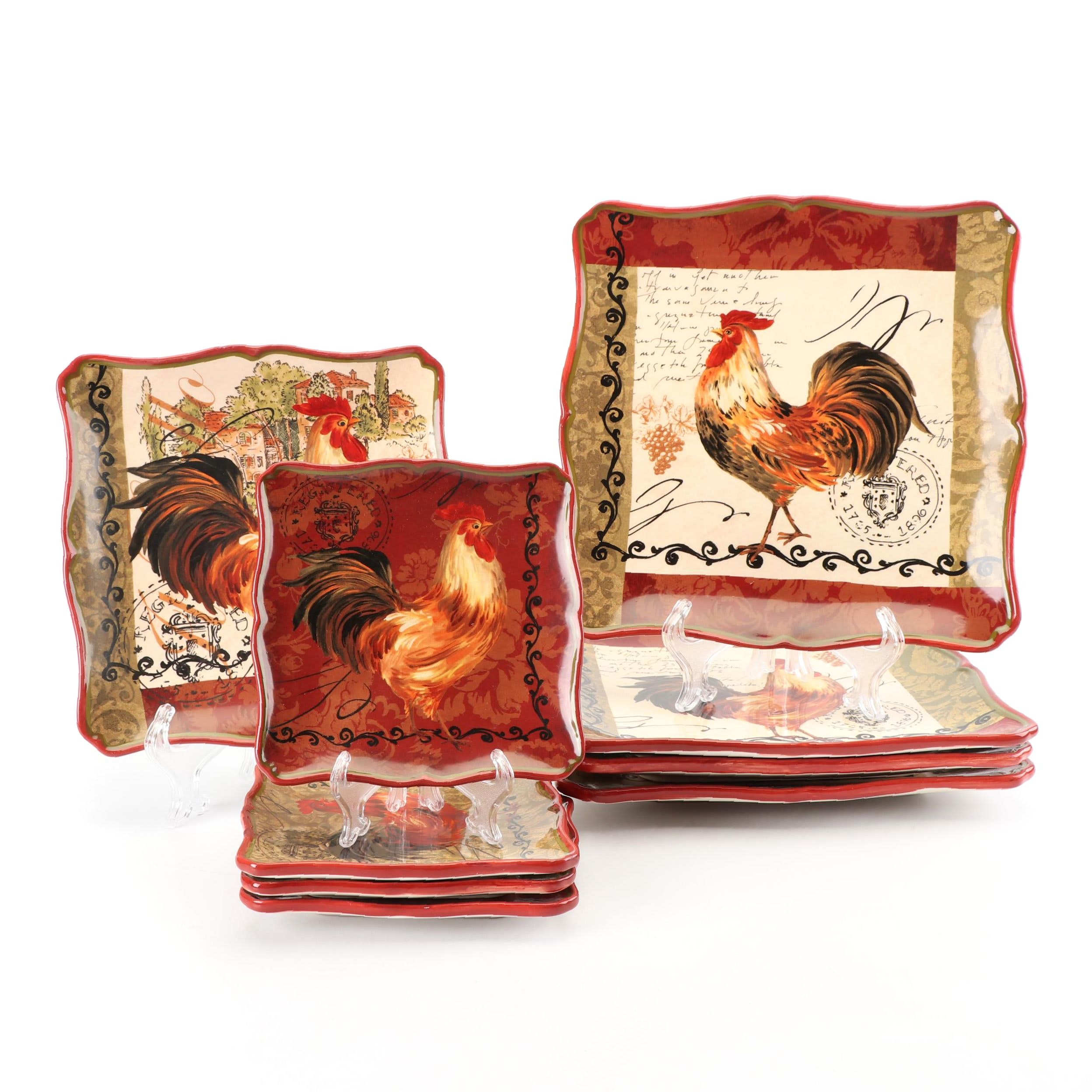"Certified International ""Tuscan Rooster"" Dinnerware by Pamela Gladding"