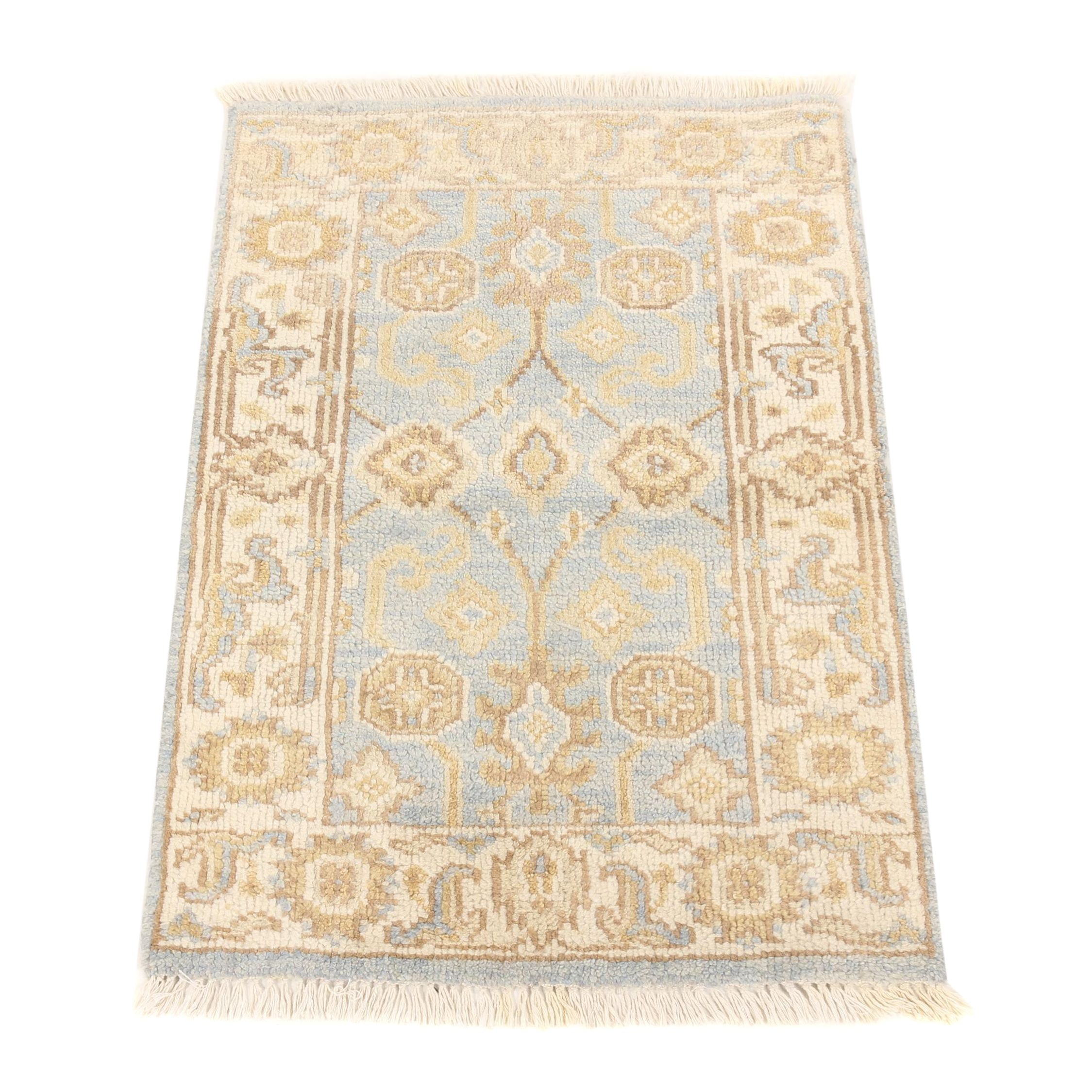 Hand-Knotted Indo-Oushak Wool Rug