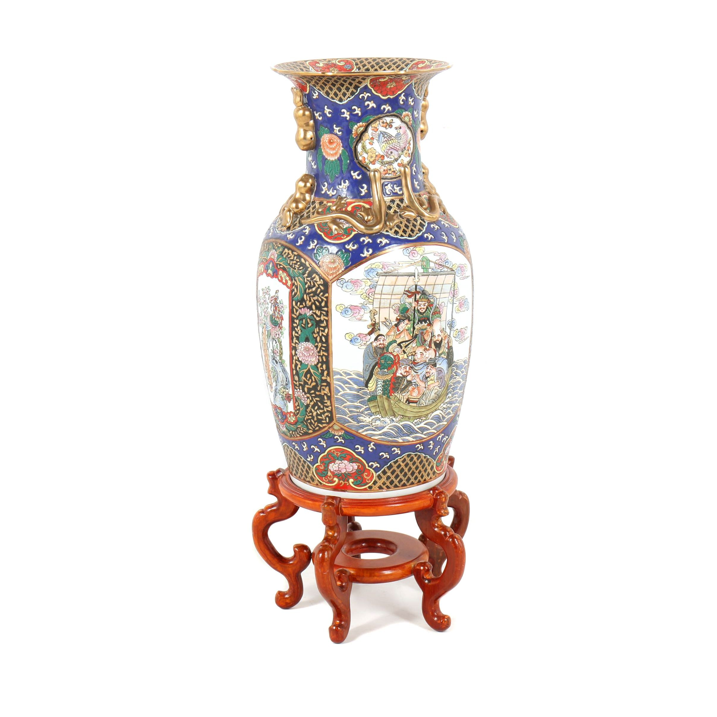 Chinese Hand-Painted Porcelain Floor Vase with Carved Wooden Stand