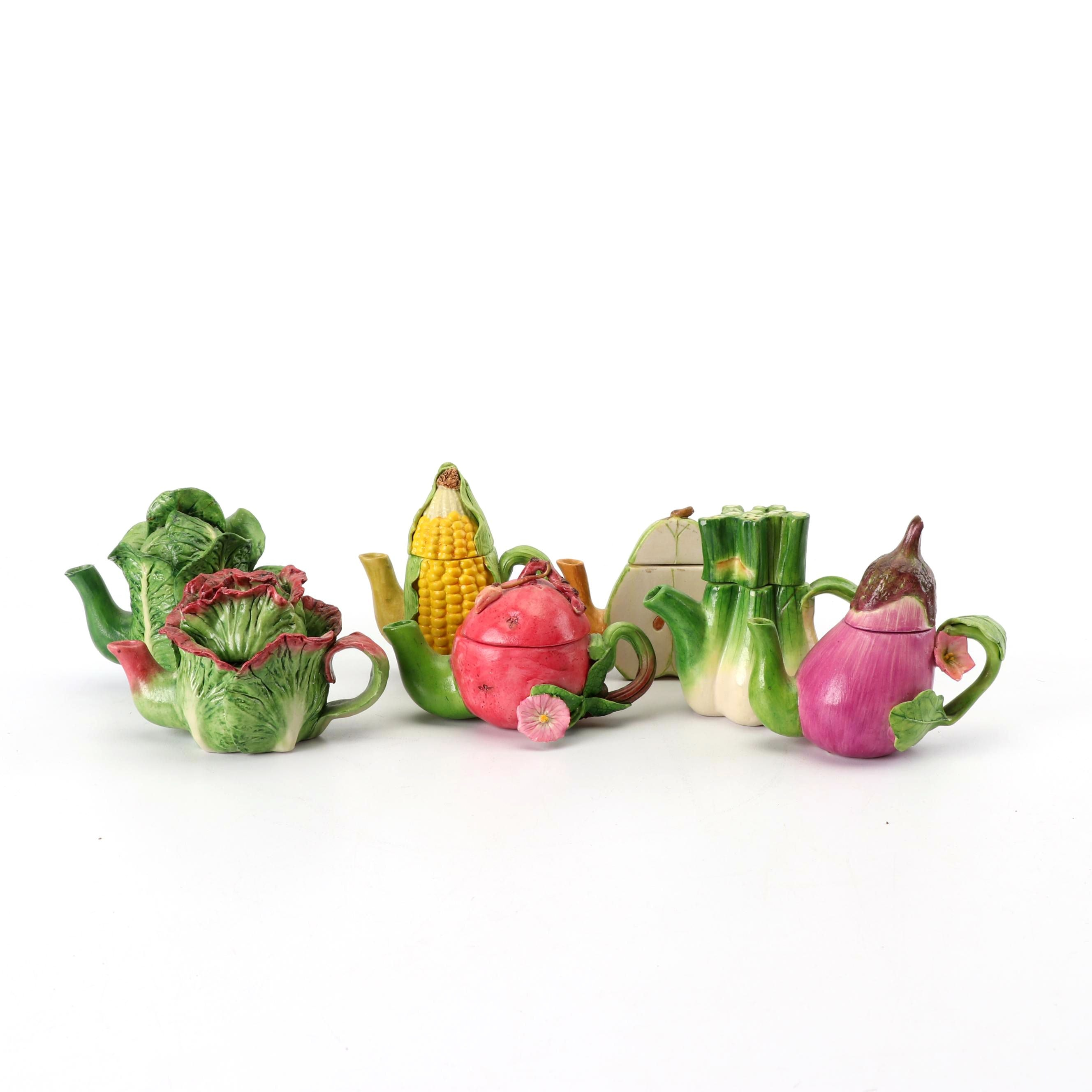 Miniature Fruit and Vegetable Ceramic Teapots