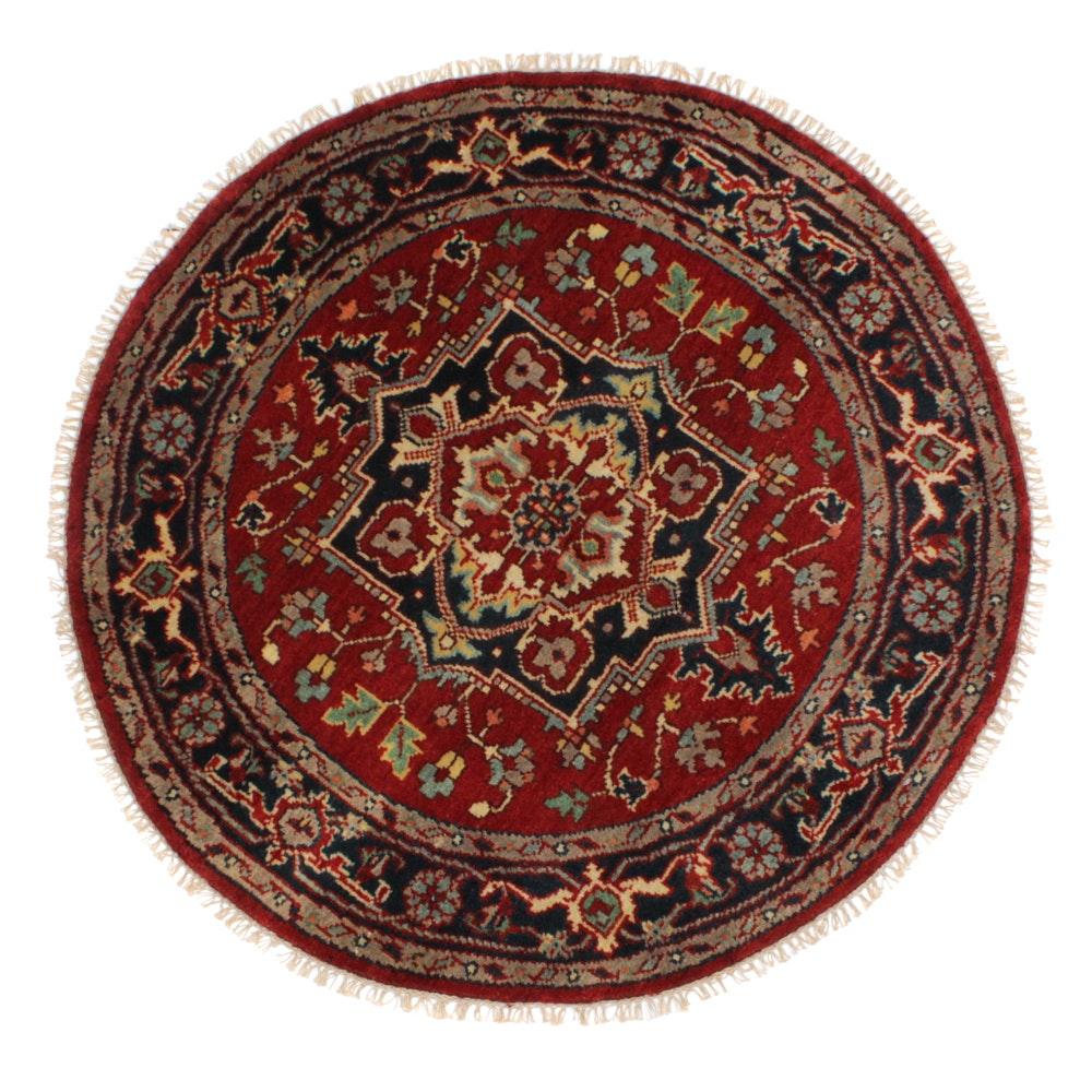Hand-Knotted Indo-Persian Heriz Serapi Round Rug