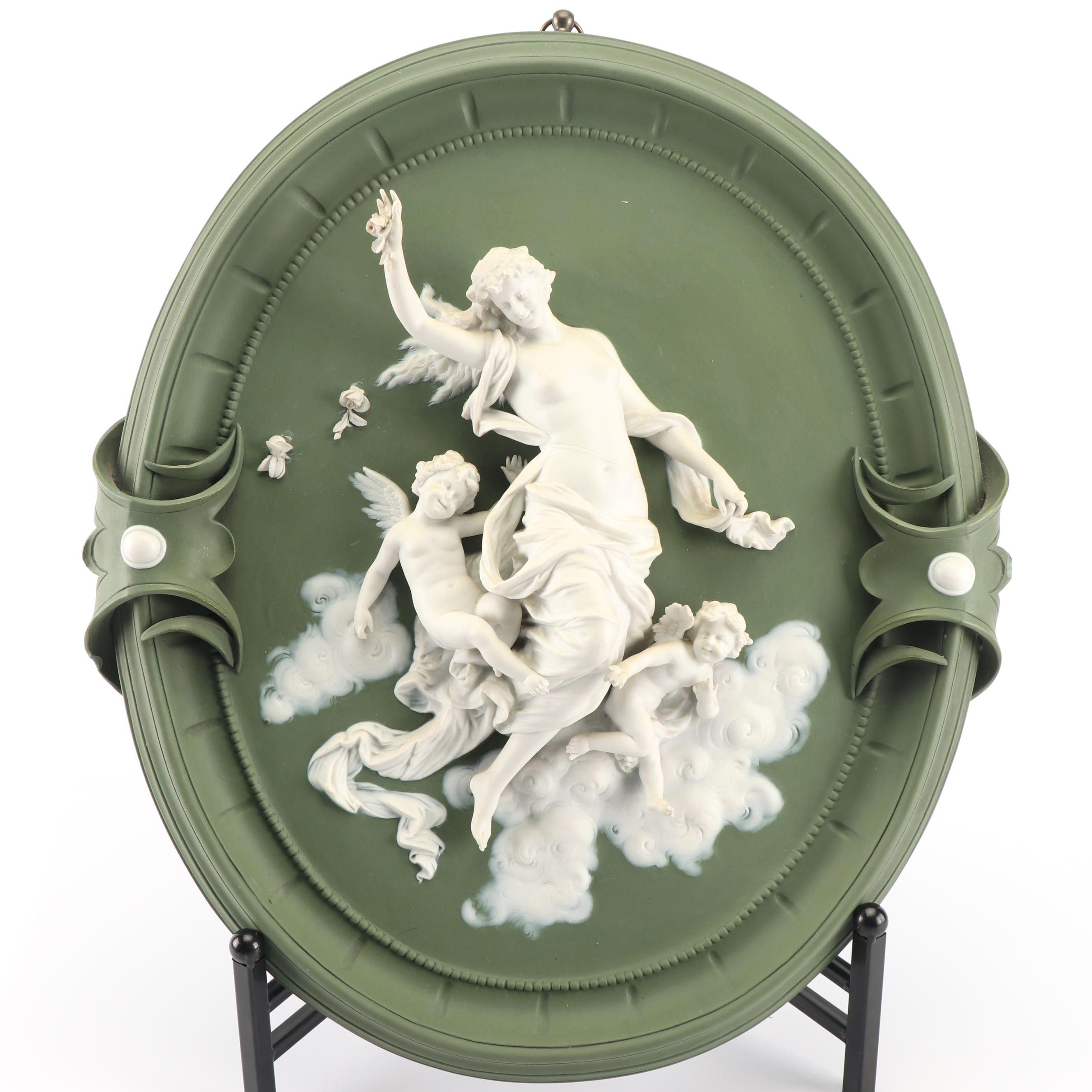 German Jasperware Figural Porcelain Plaque, 19th Century