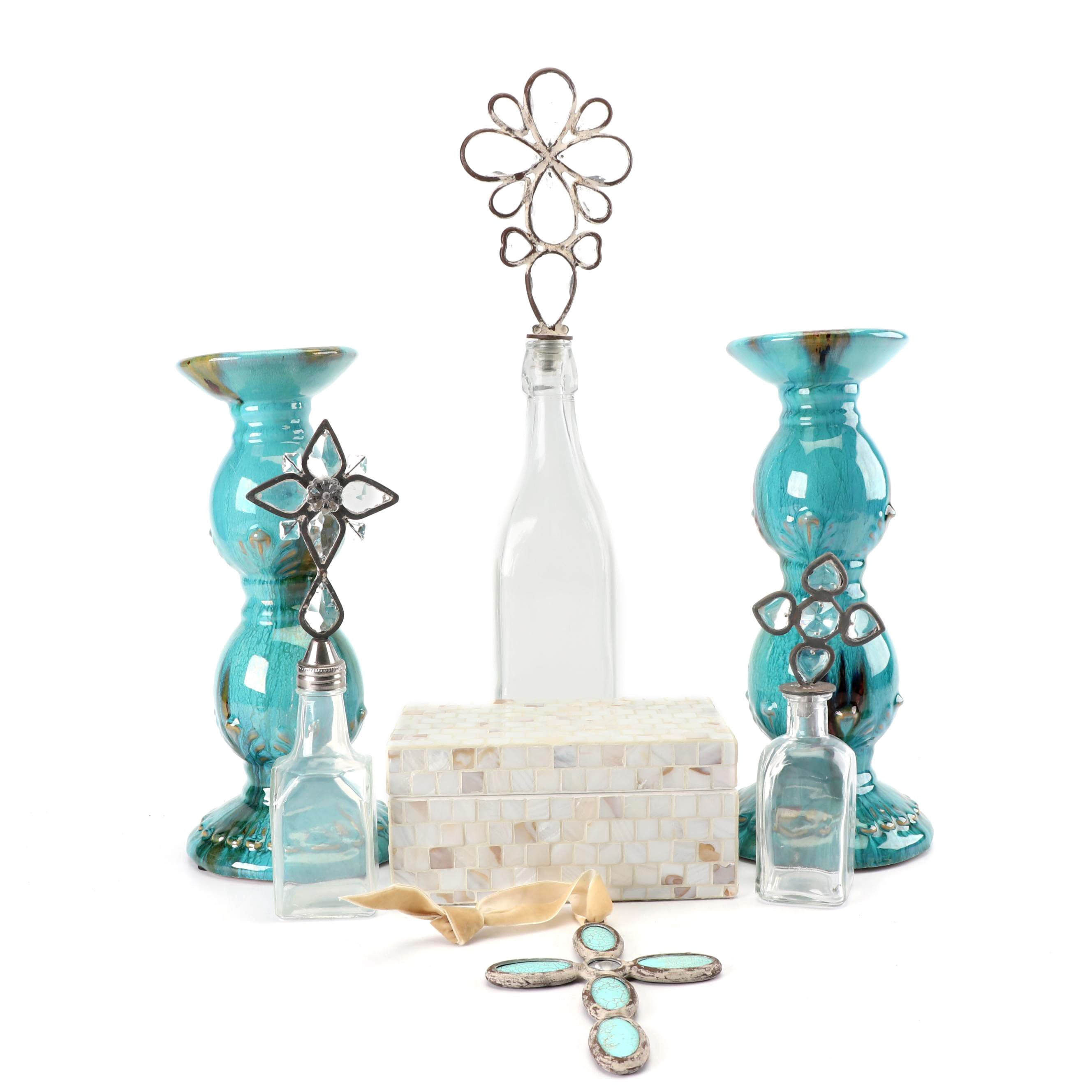 Glass Bottles, Ceramic Candle Holders, and Other Decor