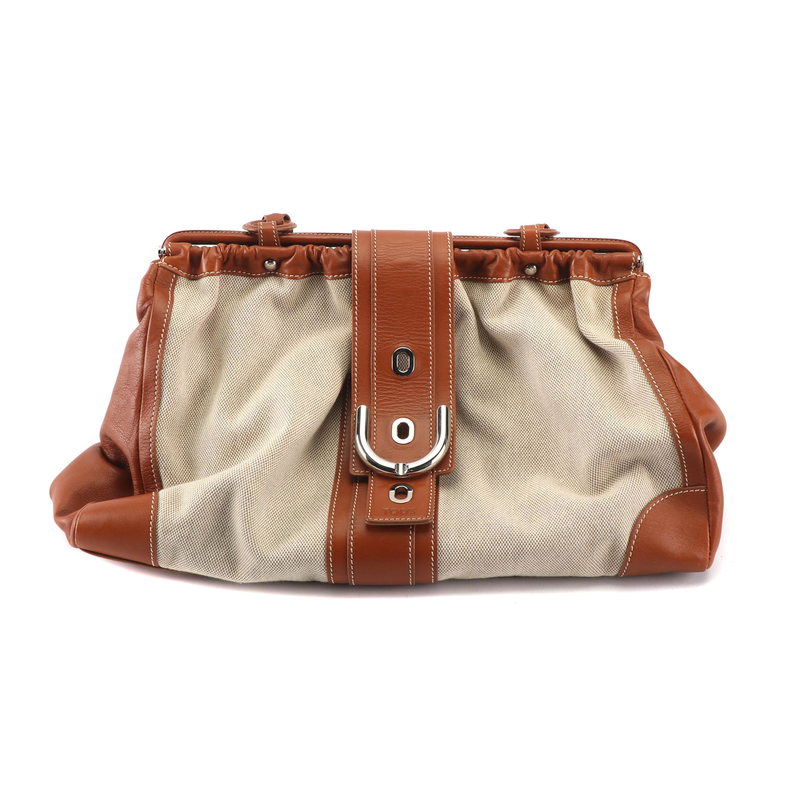Tod's Leather and Canvas Doctor's Bag Style Handbag