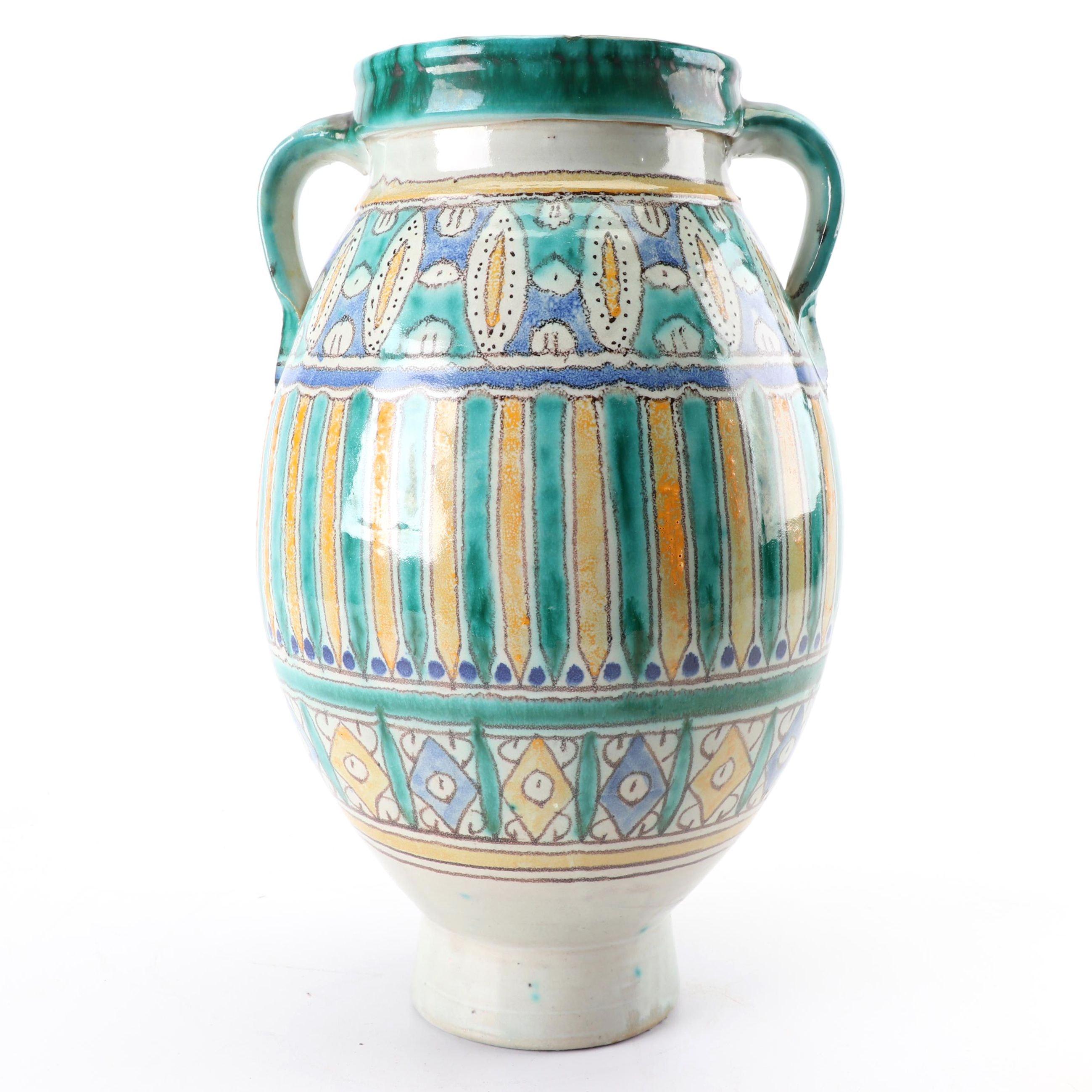 Hand-Painted Italian Earthenware Majolica Vase
