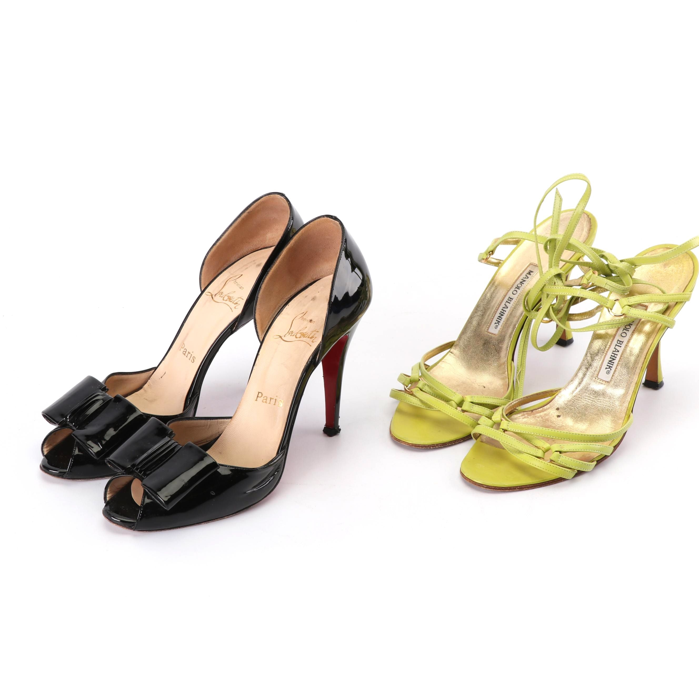 Christian Louboutin Patent Leather Pumps and Manolo Blahnik Strappy Sandals
