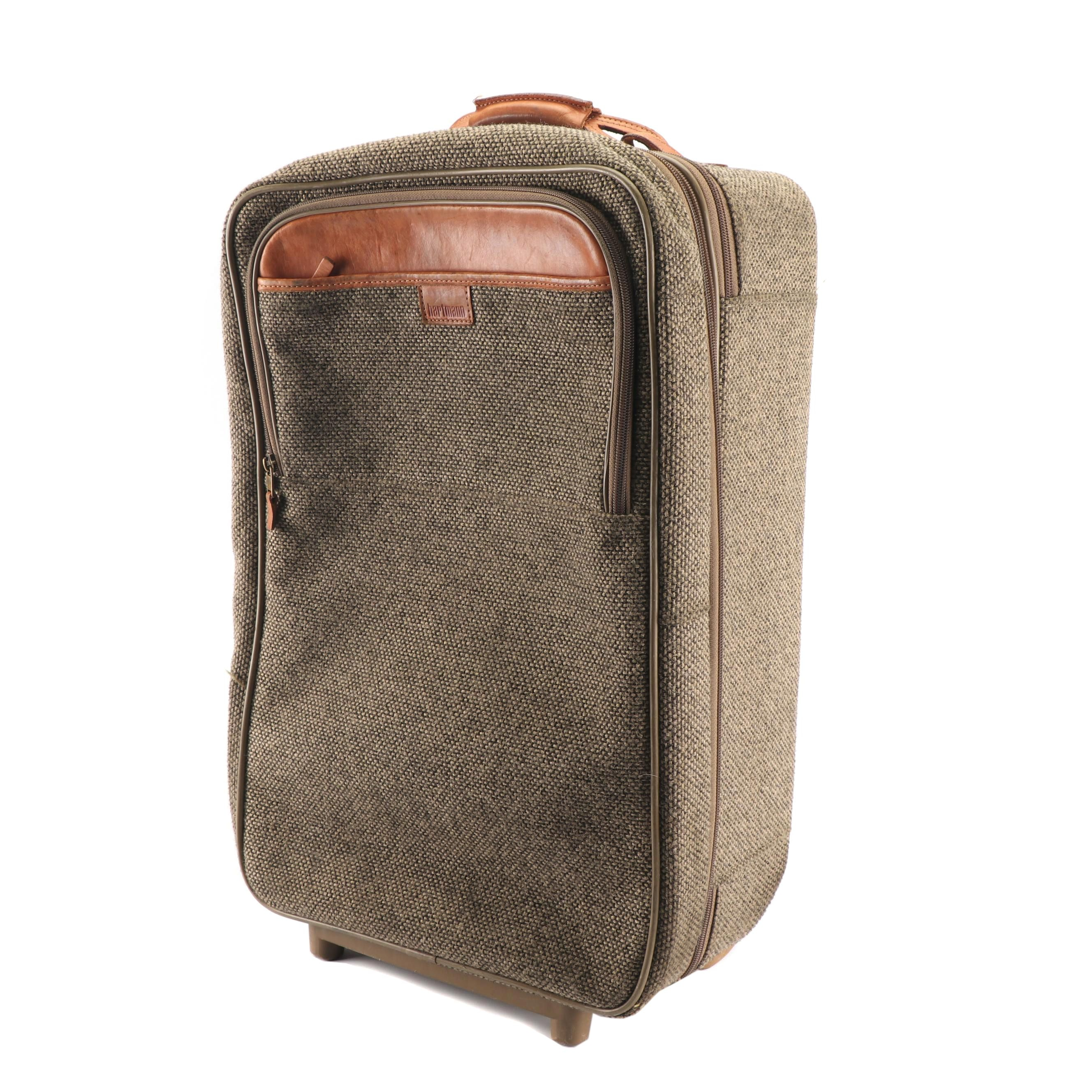 Hartmann Tweed and Leather Carry-On Suitcase