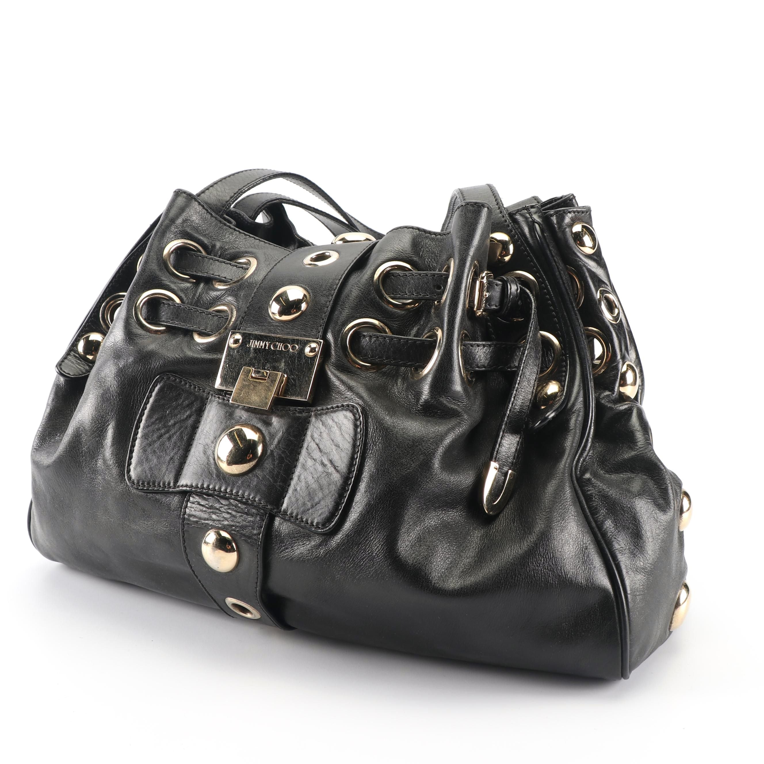 Jimmy Choo Black Leather Large Stud and Grommet Accented Handbag