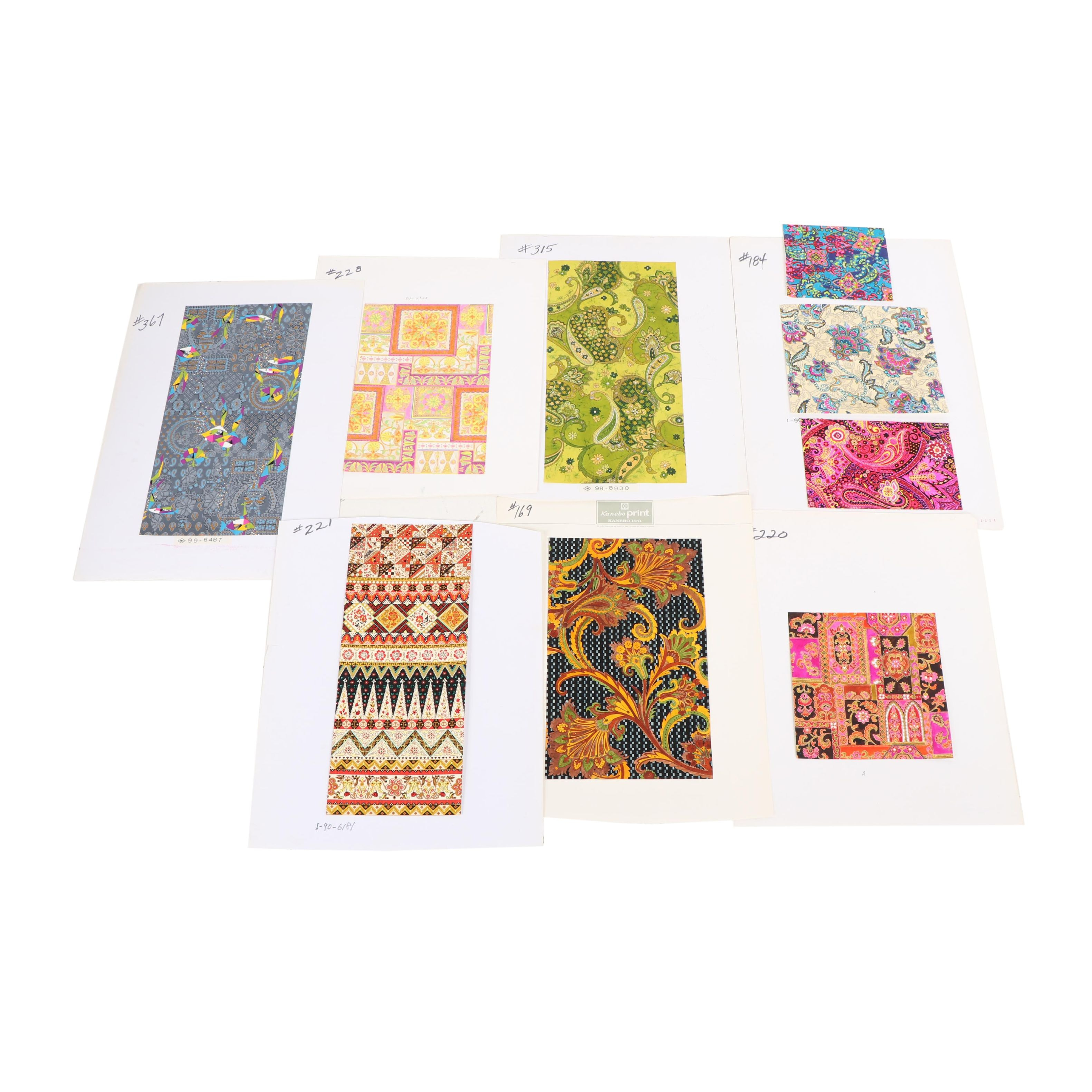 Kanebo and Other Japanese Acrylic and Gouache Painted Textile Pattern Designs