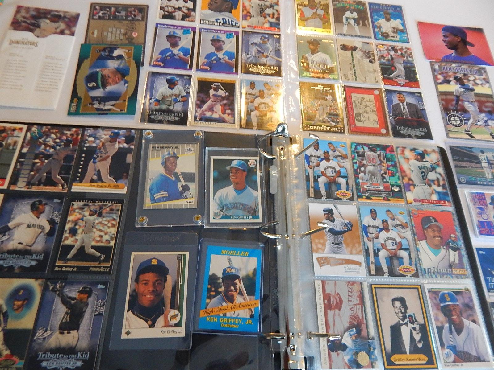 HOF Ken Griffey Jr. Card Collection in Album with 1989 Upper Deck Rookie Card