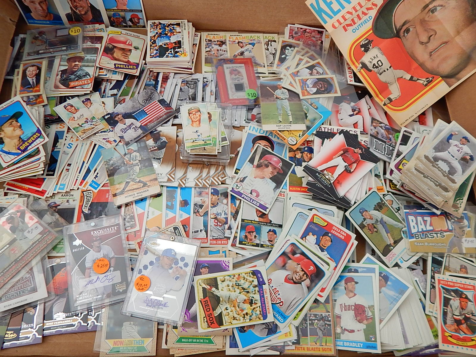 Large Baseball Card Collection in Box with Autographs, Stars, HOF, Inserts, More