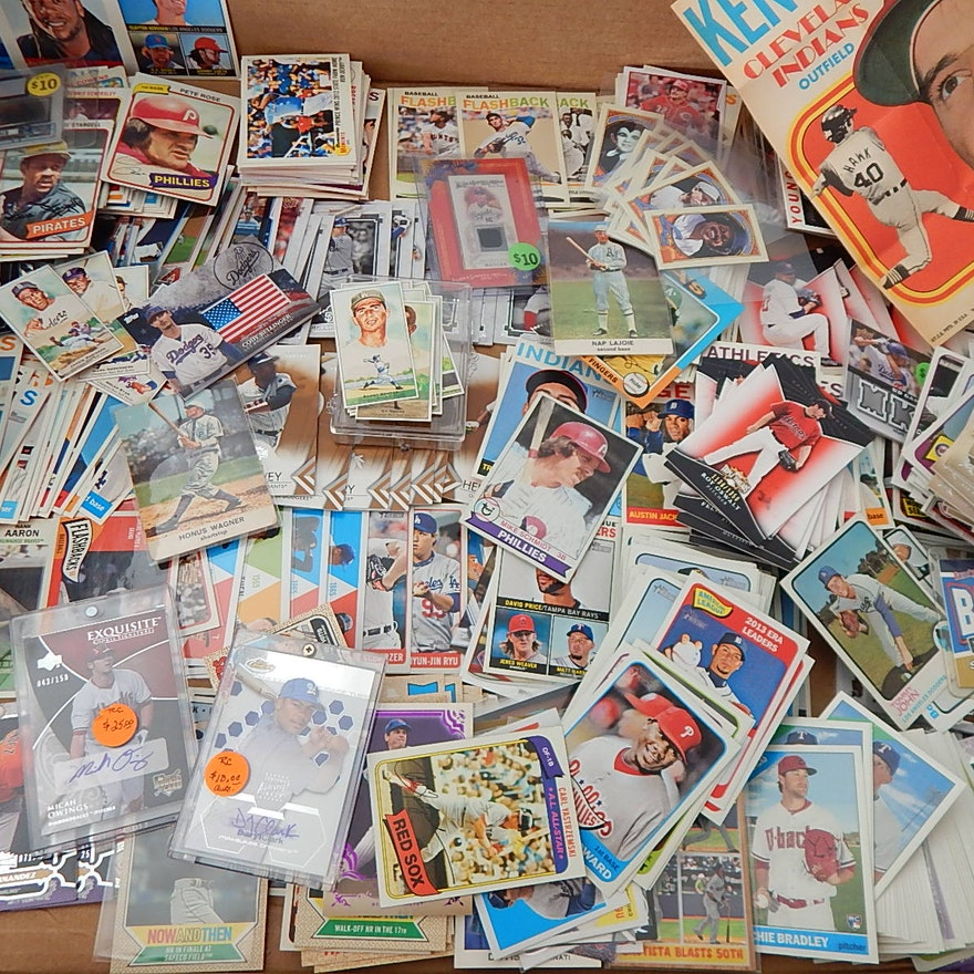 Large Baseball Card Collection In Box With Autographs Stars Hof Inserts More