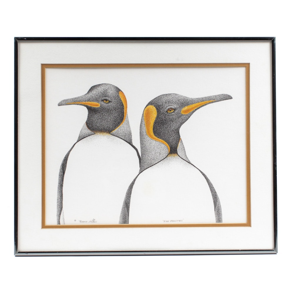 "Bruce Collins Hand-Colored Etching ""King Penguins"""