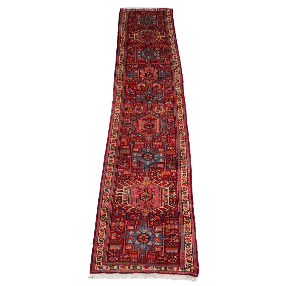 Hand-Knotted Persian Karaja Pictorial Carpet Runner