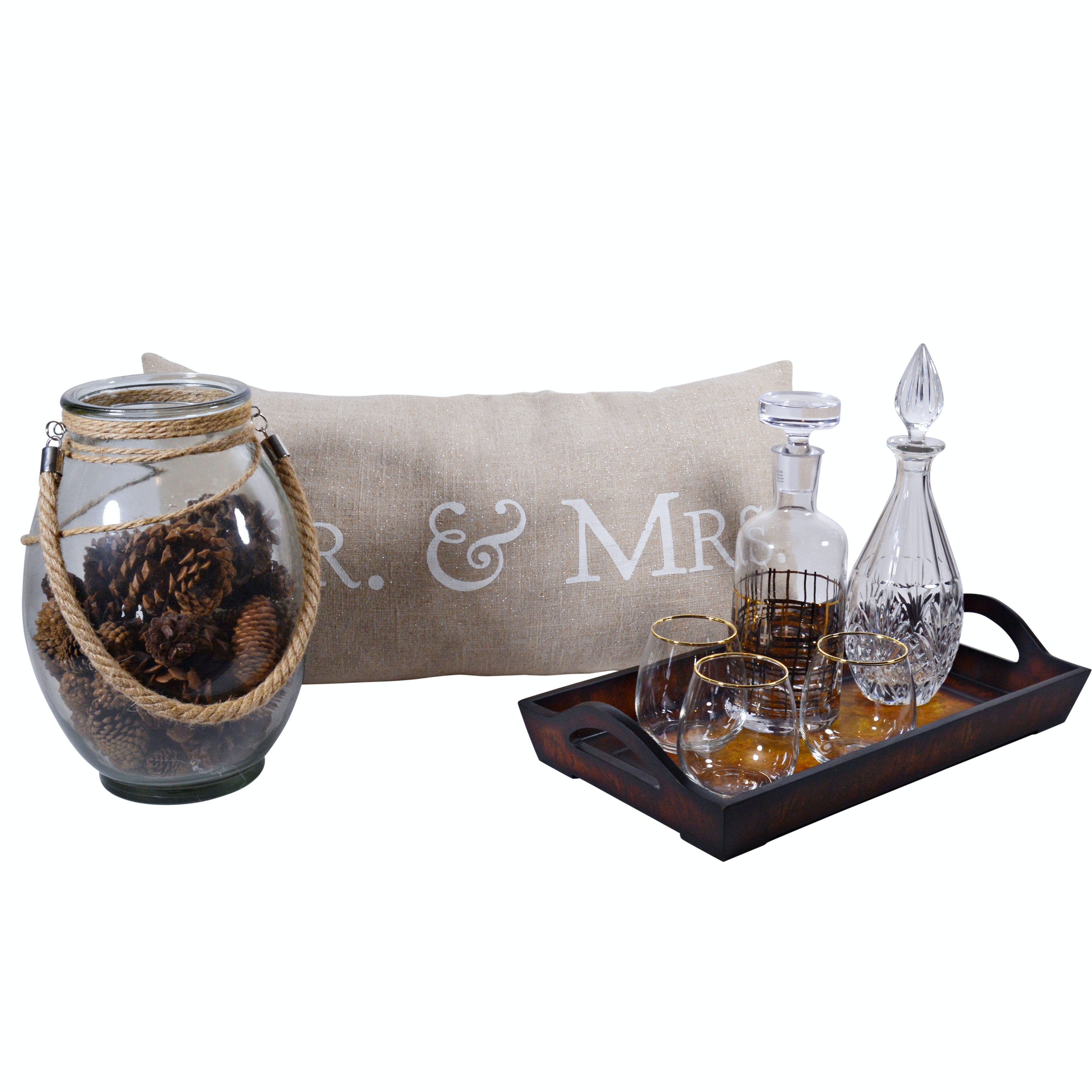 Glass Decanters, Tray and Glass Jar