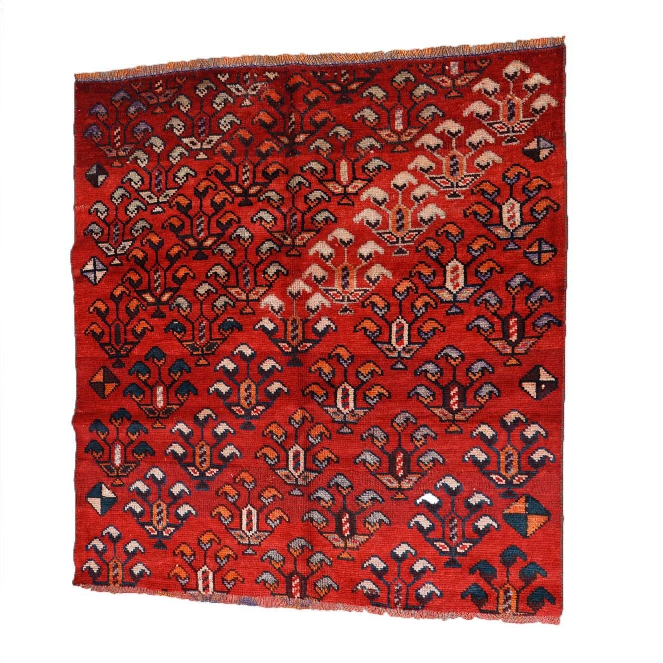 Hand-Knotted Indo-Persian Qashqai Wool Rug Remnant