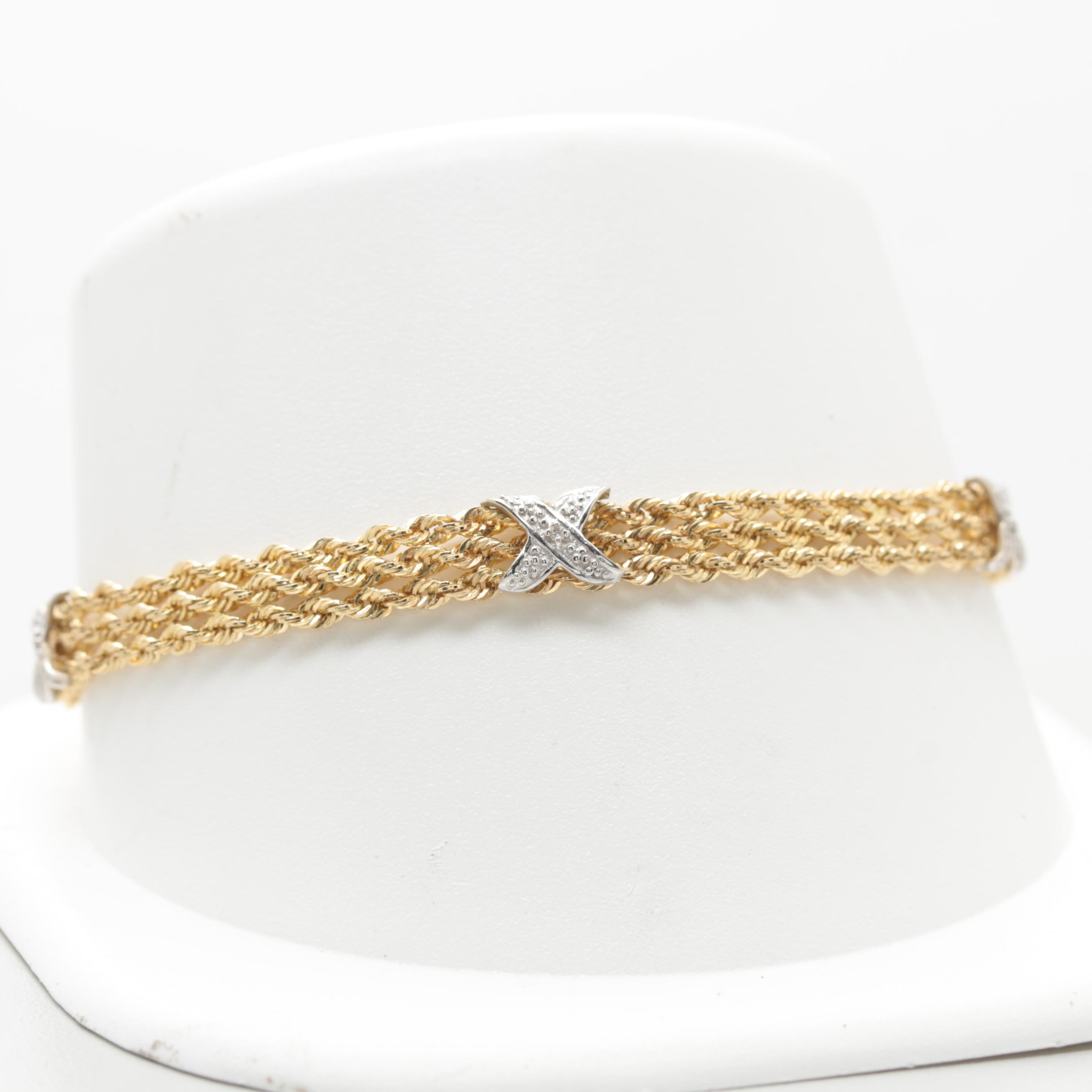 10K Yellow Gold Diamond Triple Rope Bracelet with White Gold Accents