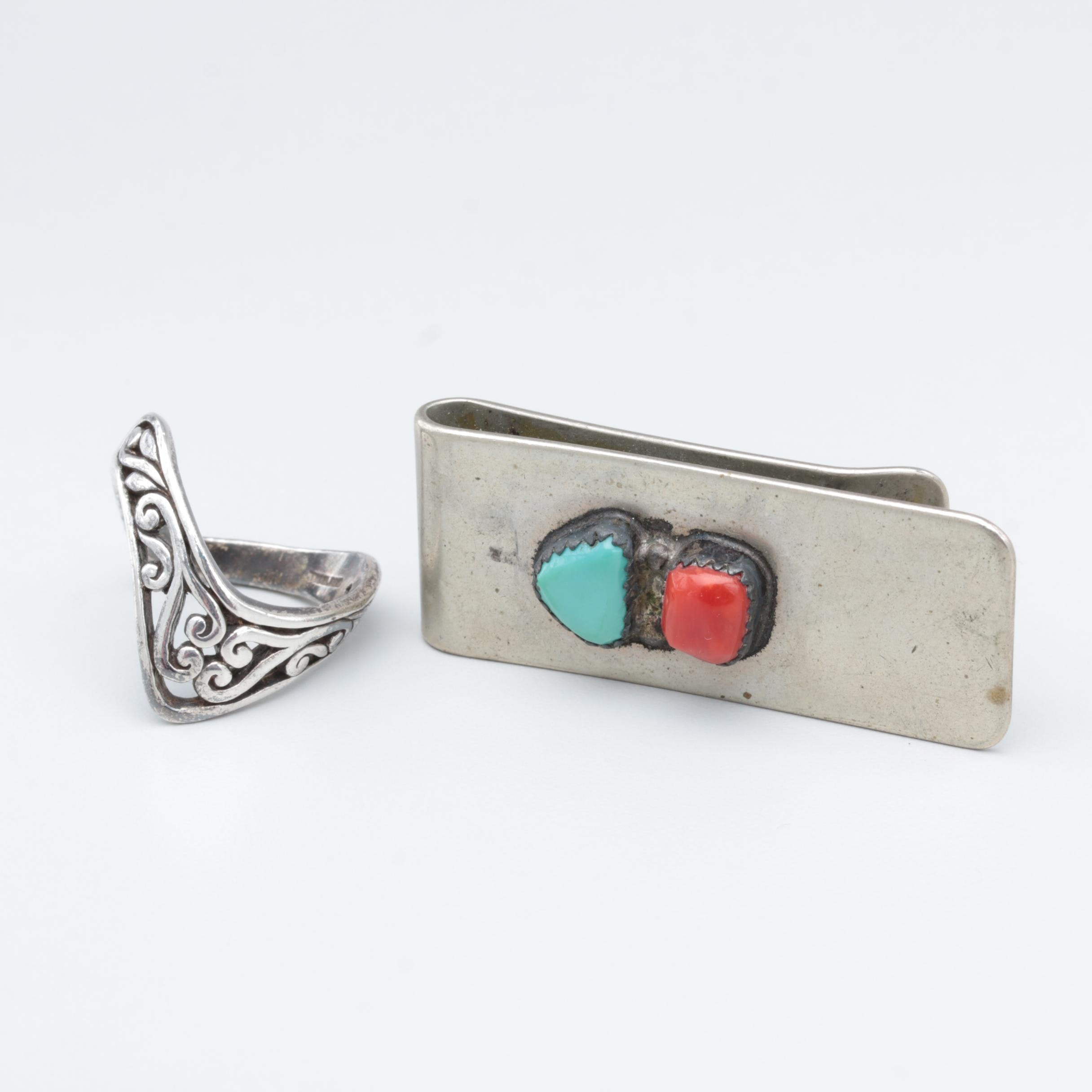 Sterling Silver Ring, Silver Tone Money Clip with Turquoise and Coral