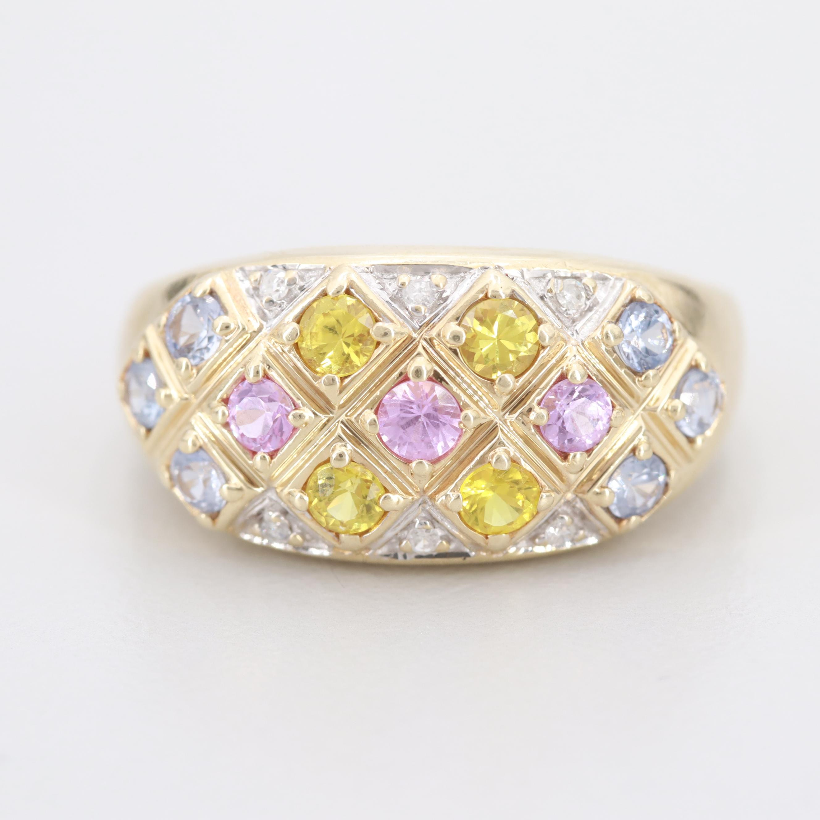 10K Yellow Gold Diamond and Multi-Colored Sapphire Ring