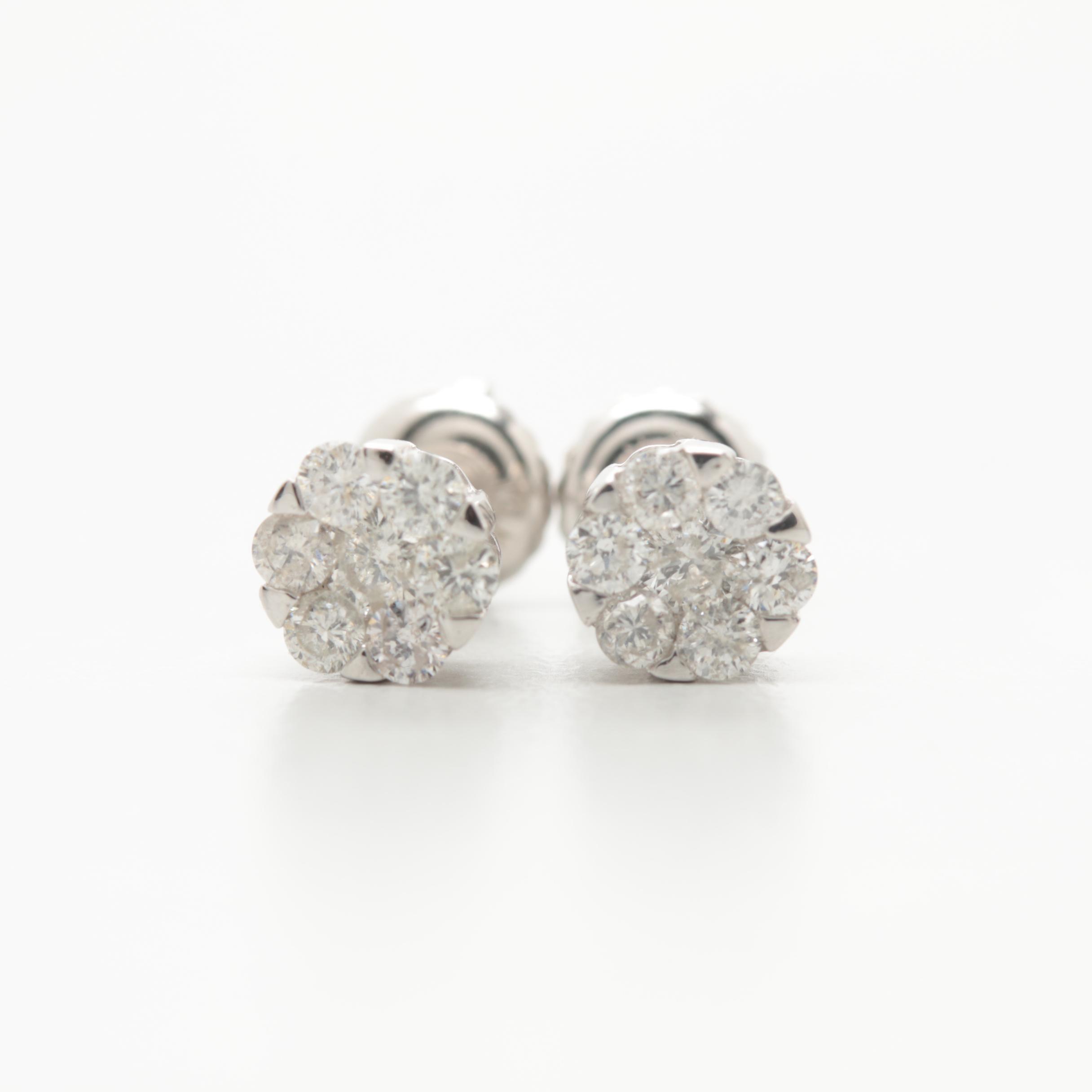 10K White Gold Diamond Earrings