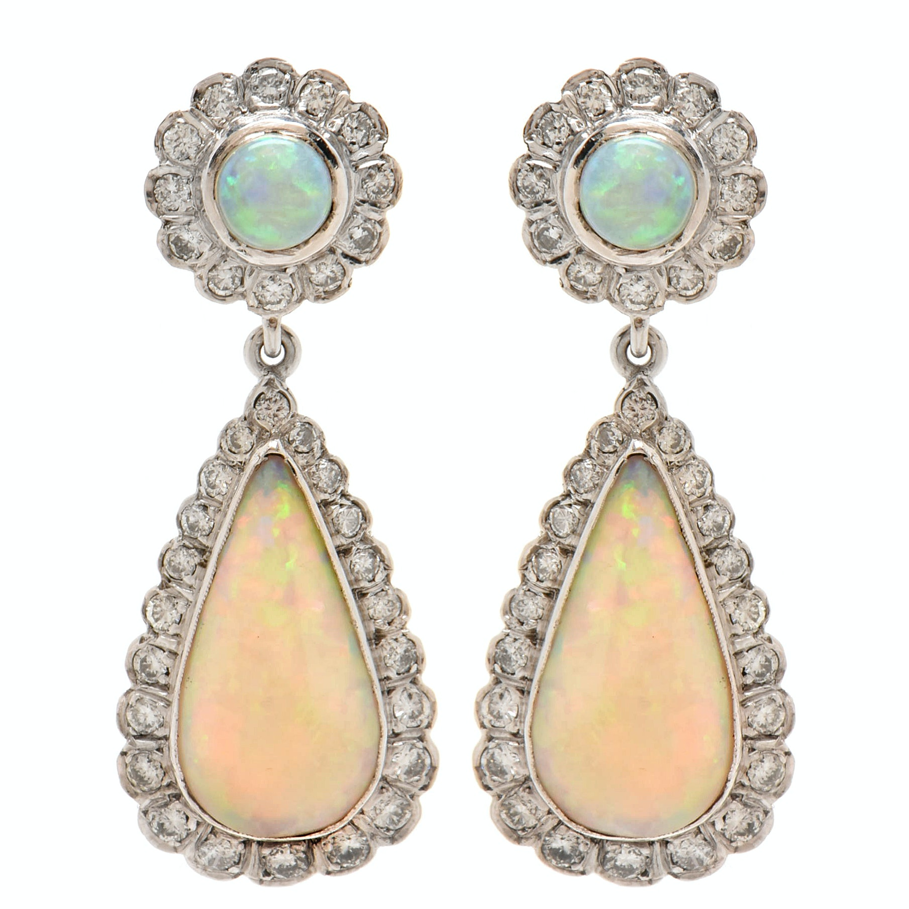 18K White Gold Opal and 2.55 CTW Diamond Teardrop Earrings with 14K White Gold