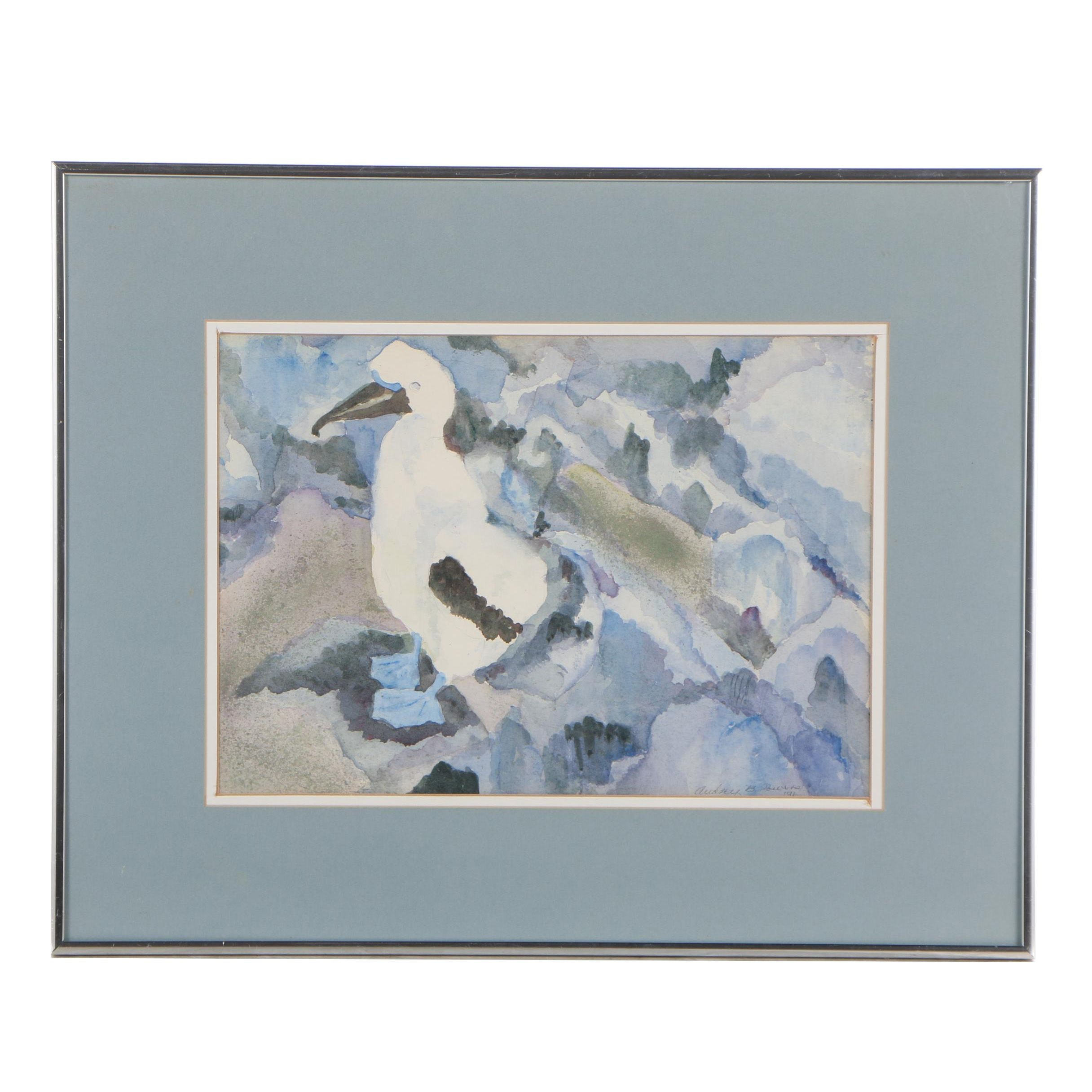 "Audrey B. Powers Watercolor Painting ""Blue - Footed Booby"""