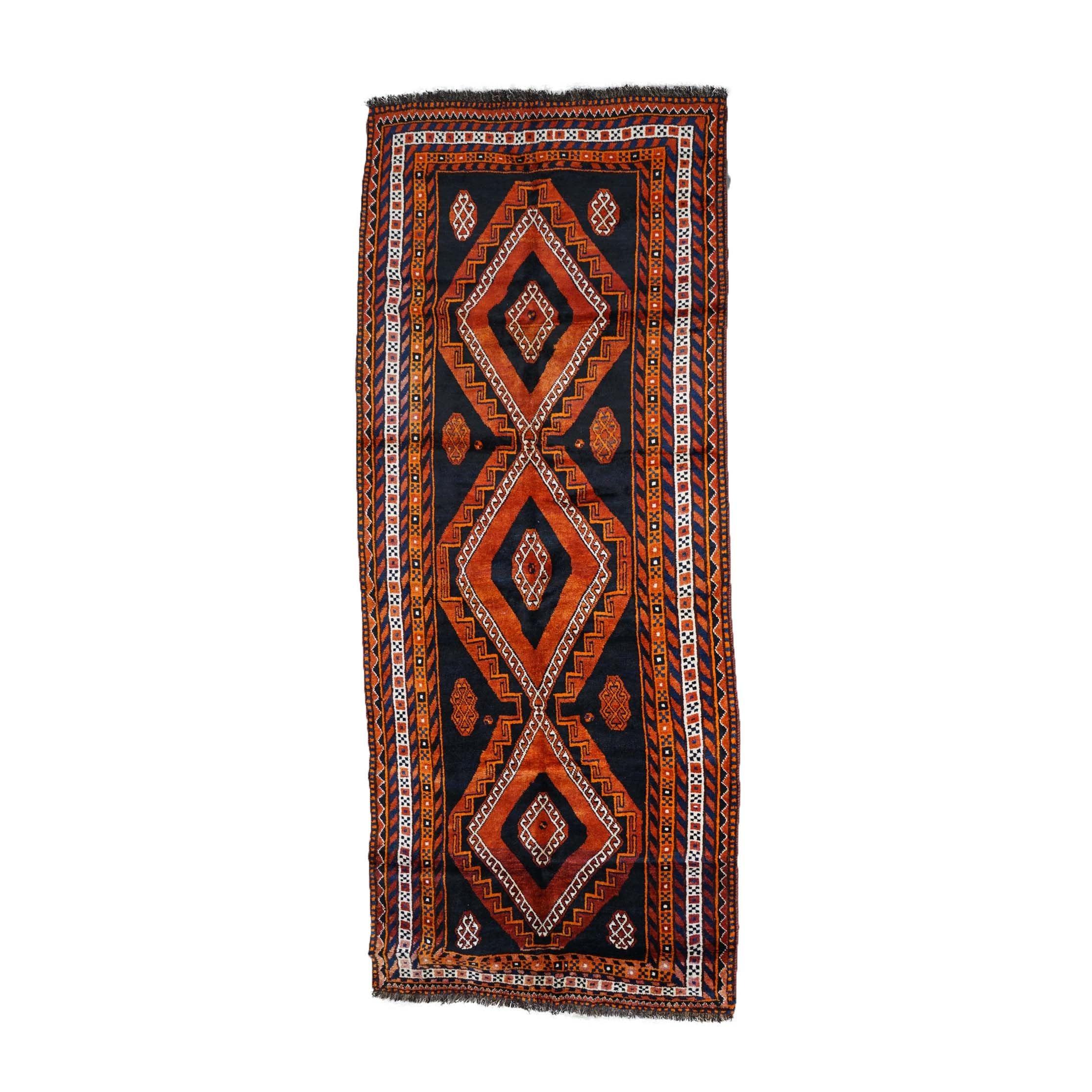 Hand-Knotted Persian Qashqai Wool Long Rug