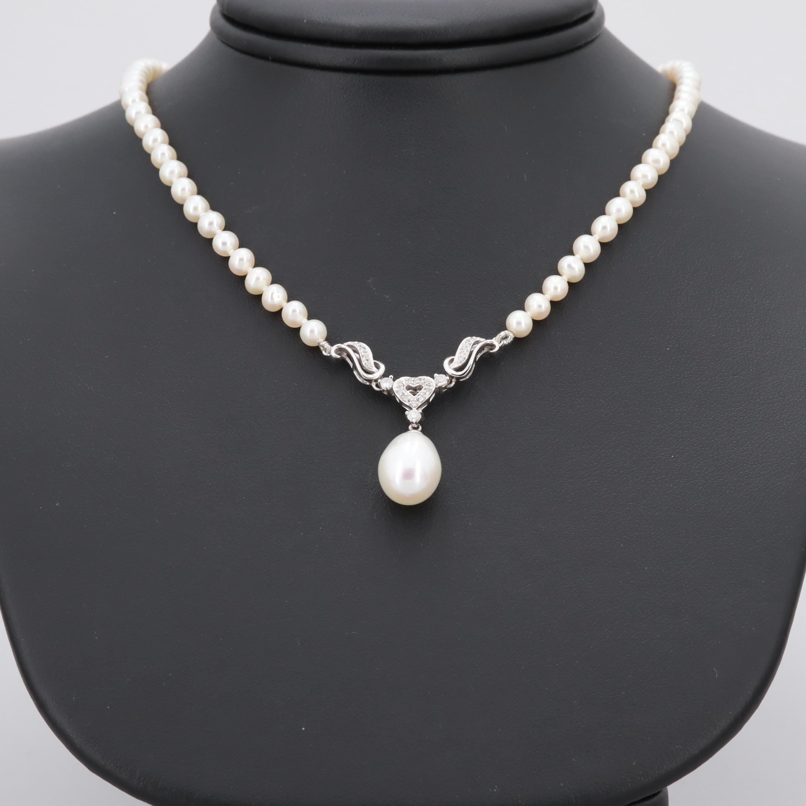 14K White Gold Cultured Pearl and Diamond Heart Necklace