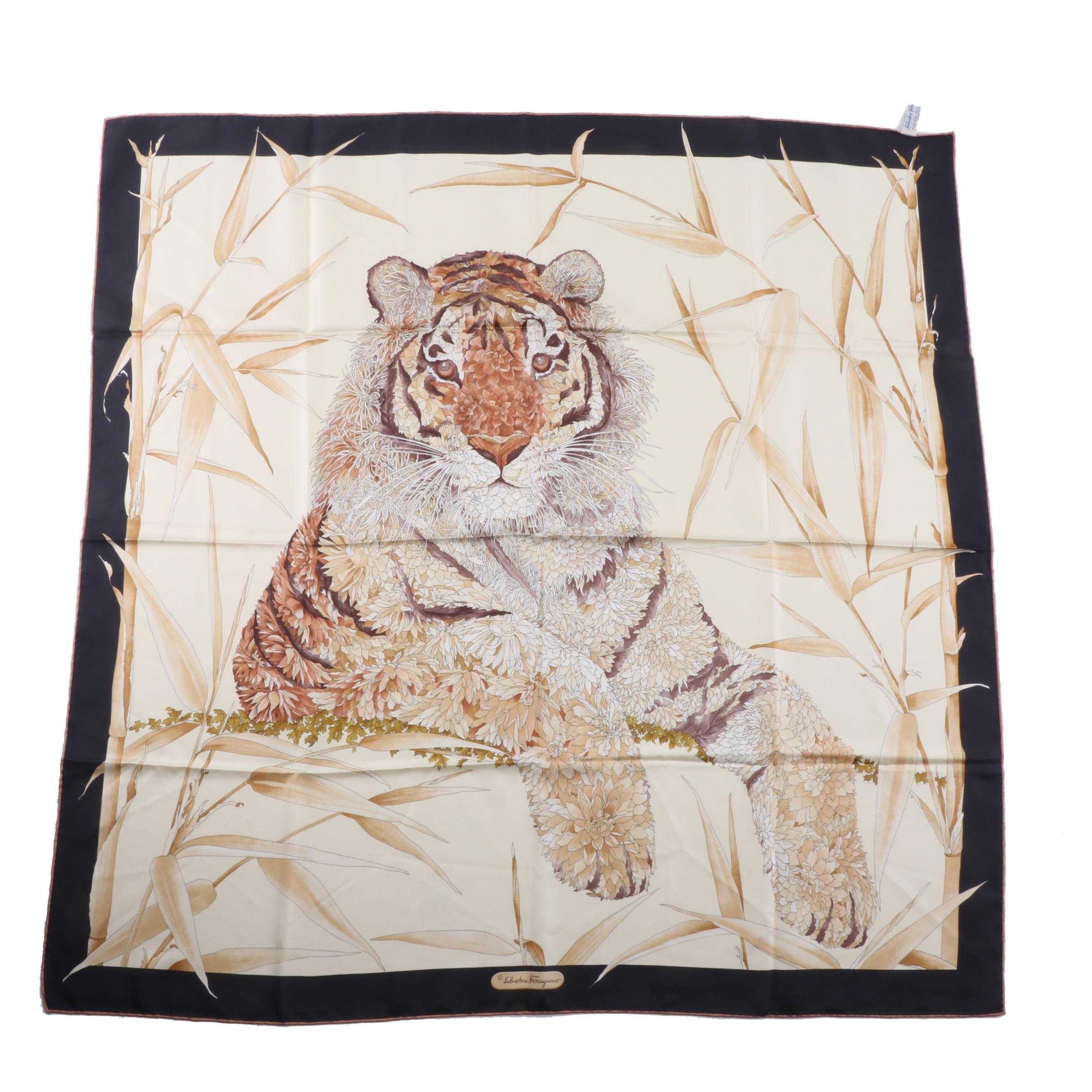 Vintage Salvatore Ferragamo Tiger Print Silk Scarf, Made in Italy