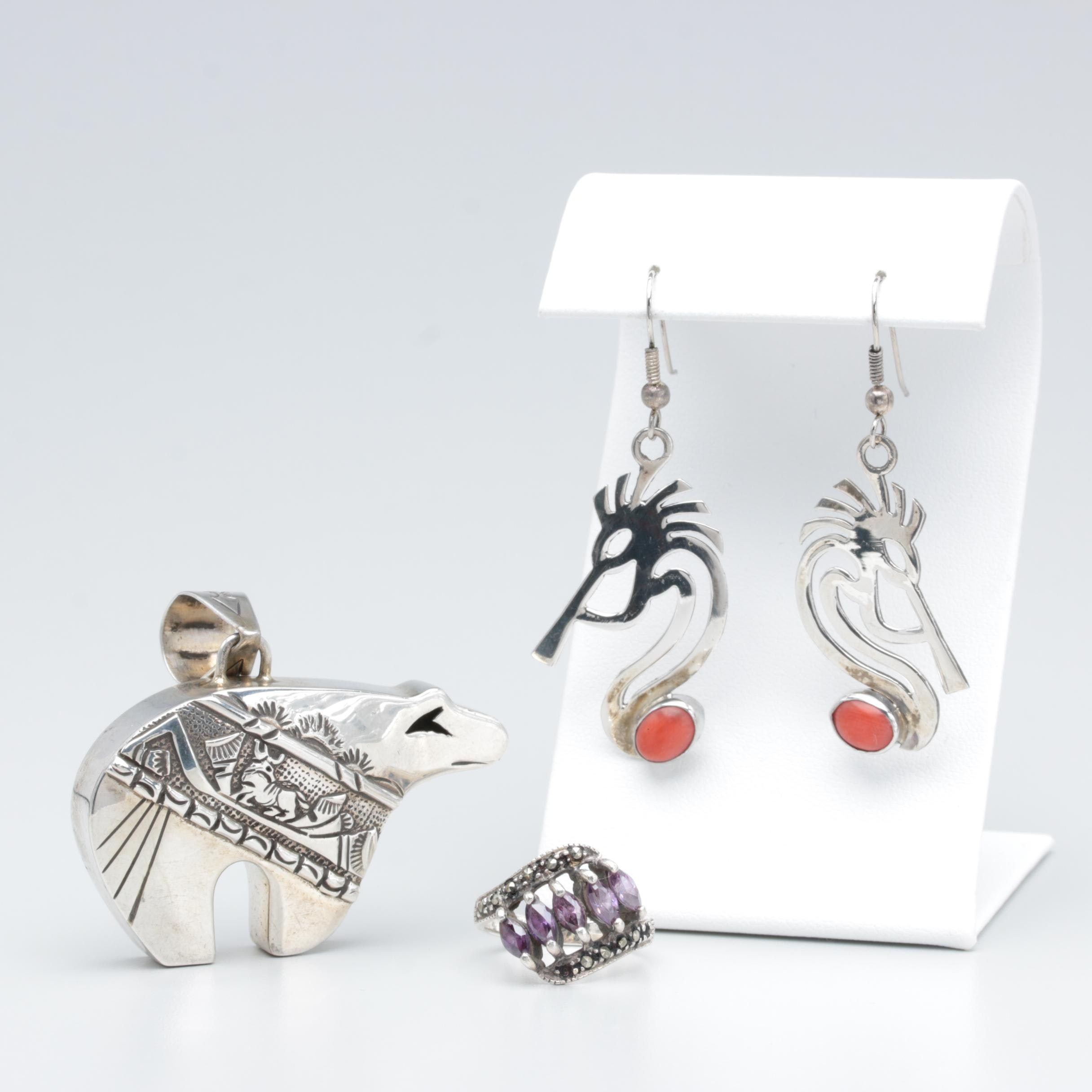 Assorted Sterling Marcasite, Coral, and Cubic Zircon Jewelry Featuring Kokopelli