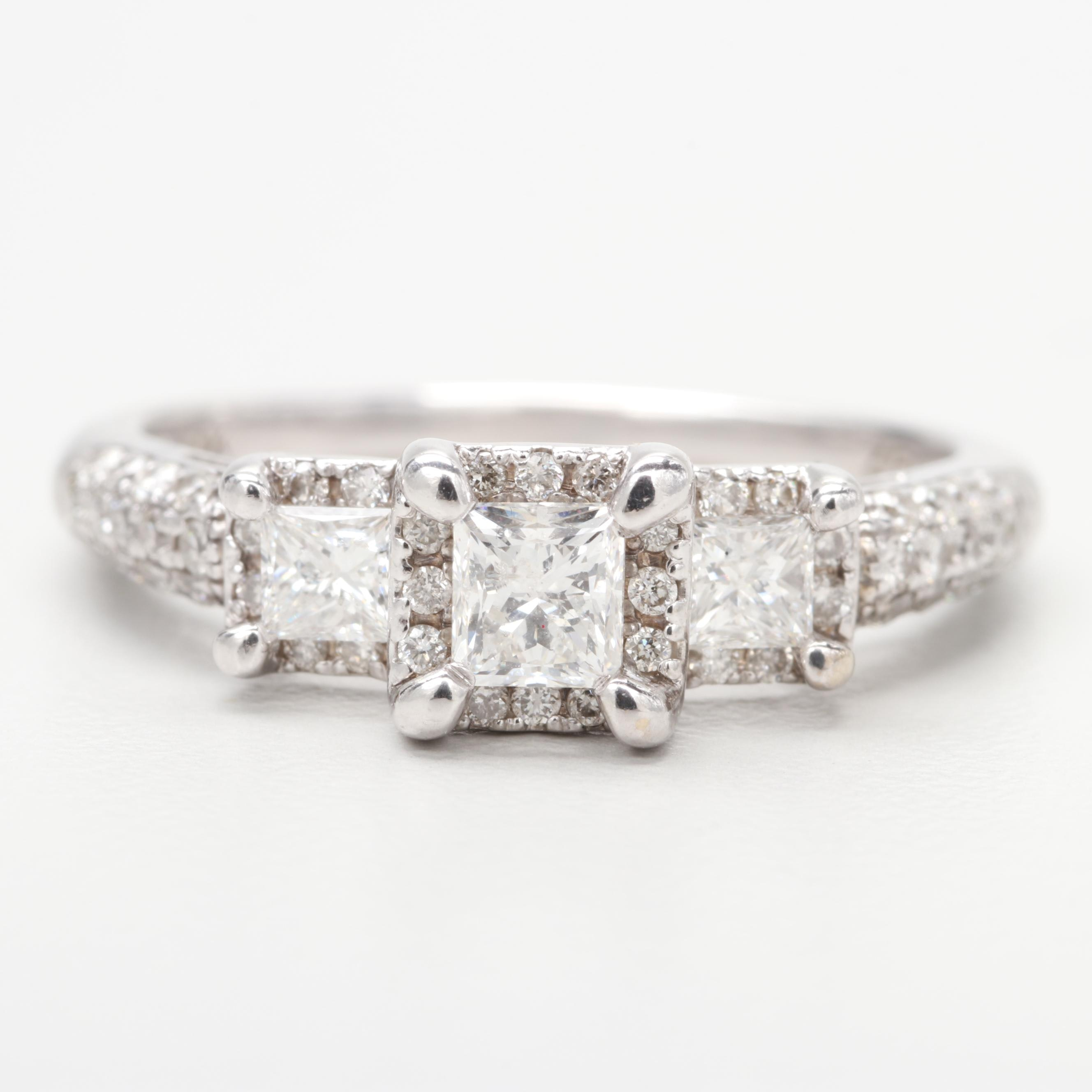 14K White Gold 1.03 CTW Diamond Ring