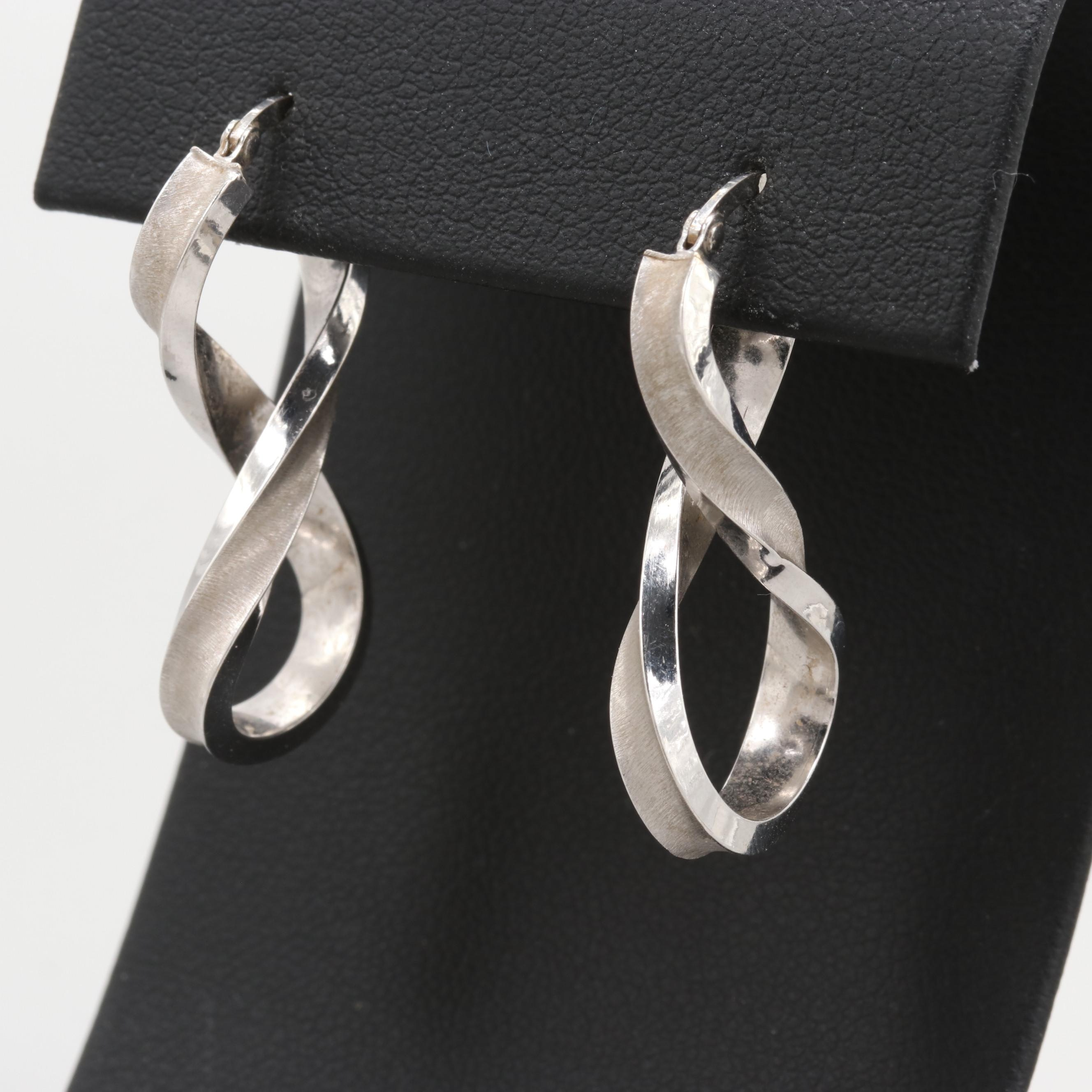 14K White Gold Brushed and Bright Polished Drop Earrings