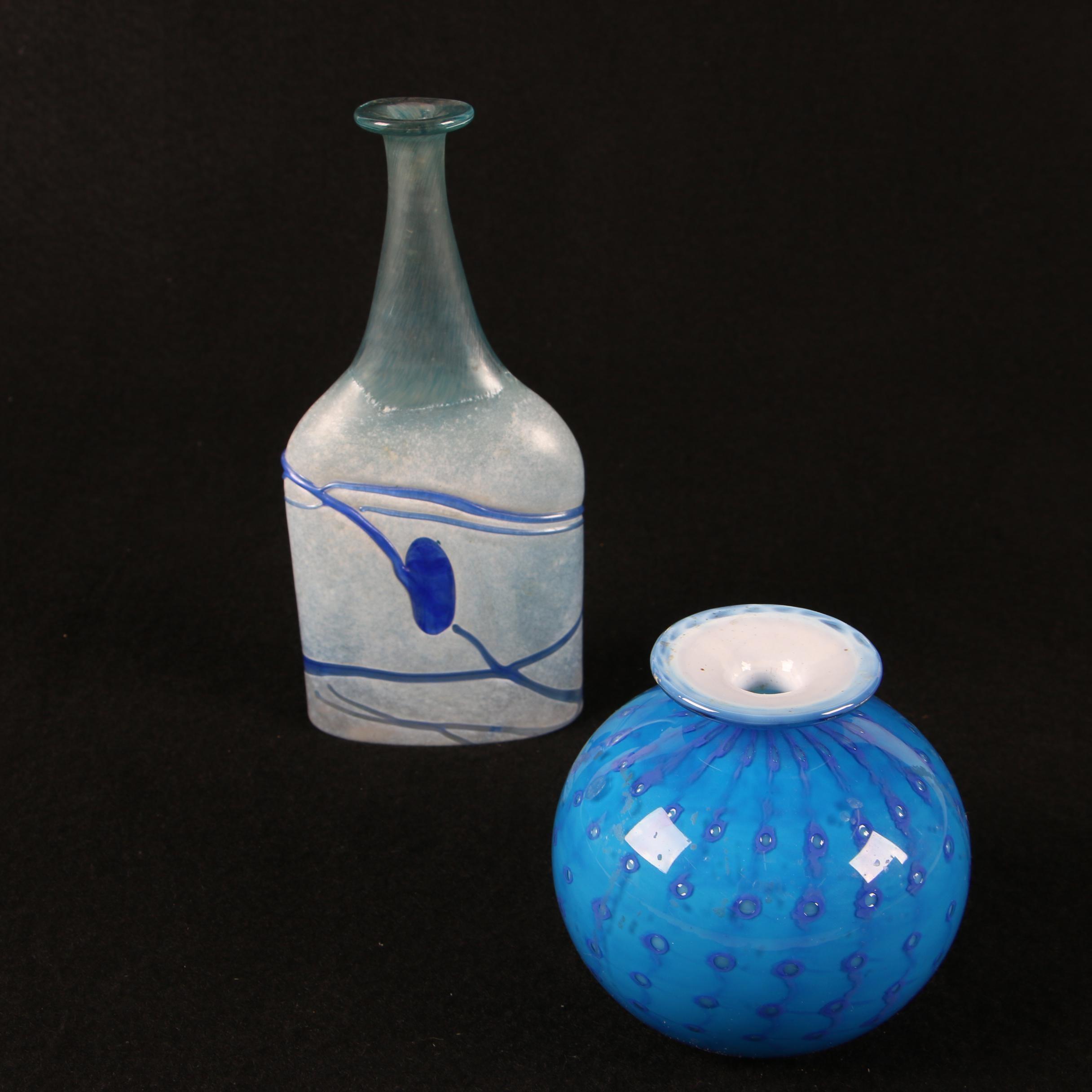 Art Glass Vases including Signed Bottle Vase