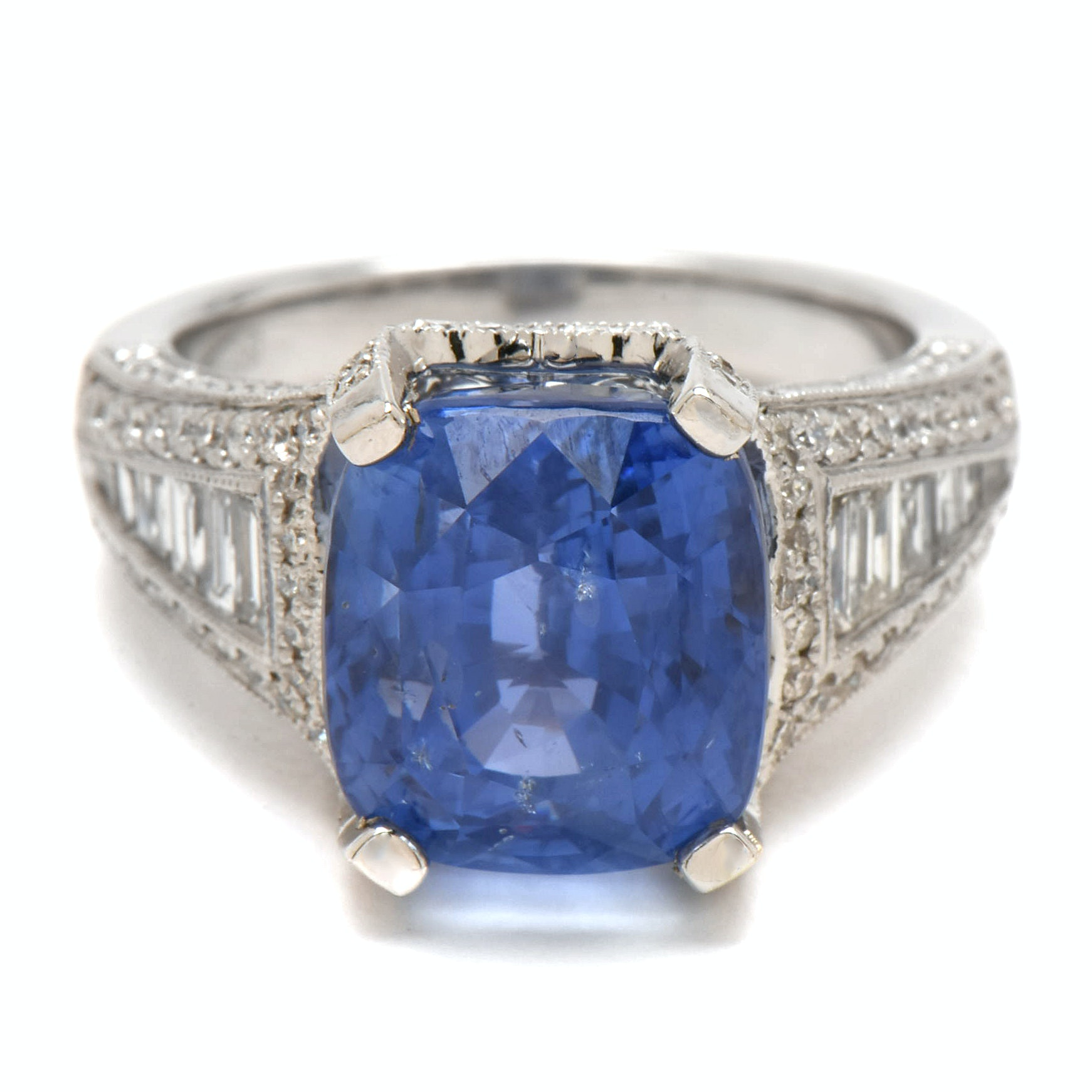 14K Gold Unheated Sri Lankan 10.36 CT Sapphire and  Diamond Ring with GIA Report