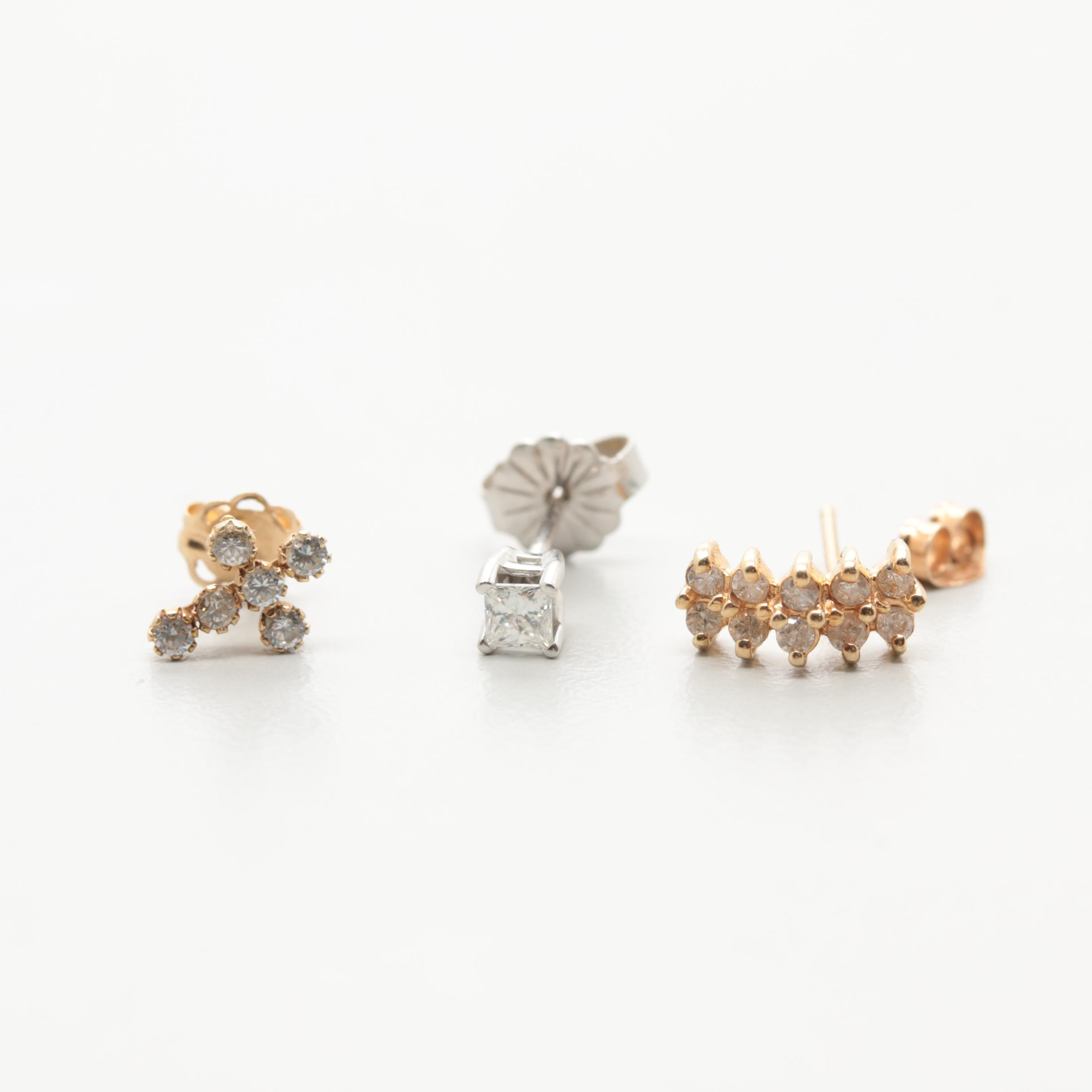 14K Yellow Gold Diamond and Cubic Zirconia Single Earring Assortment