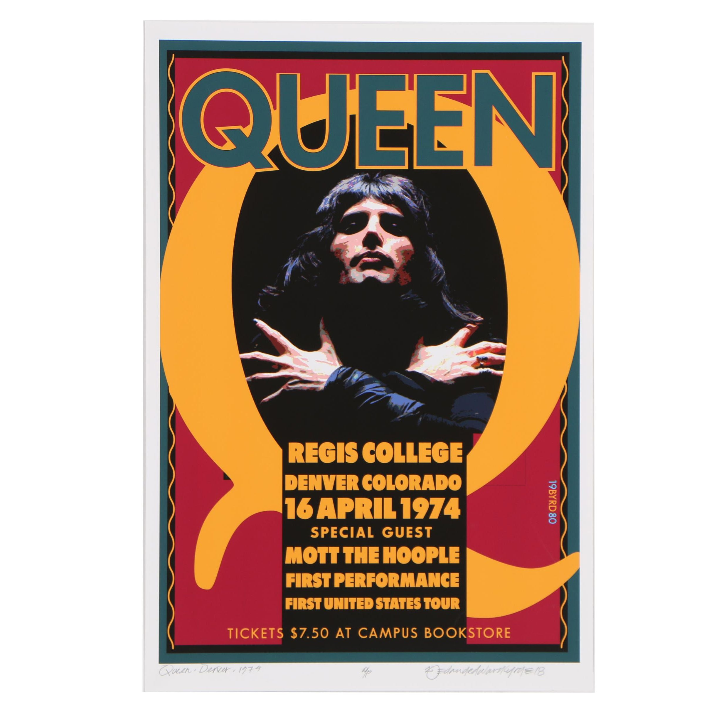 David Edward Byrd 1974 Queen Concert at Regis College Denver Poster Giclée