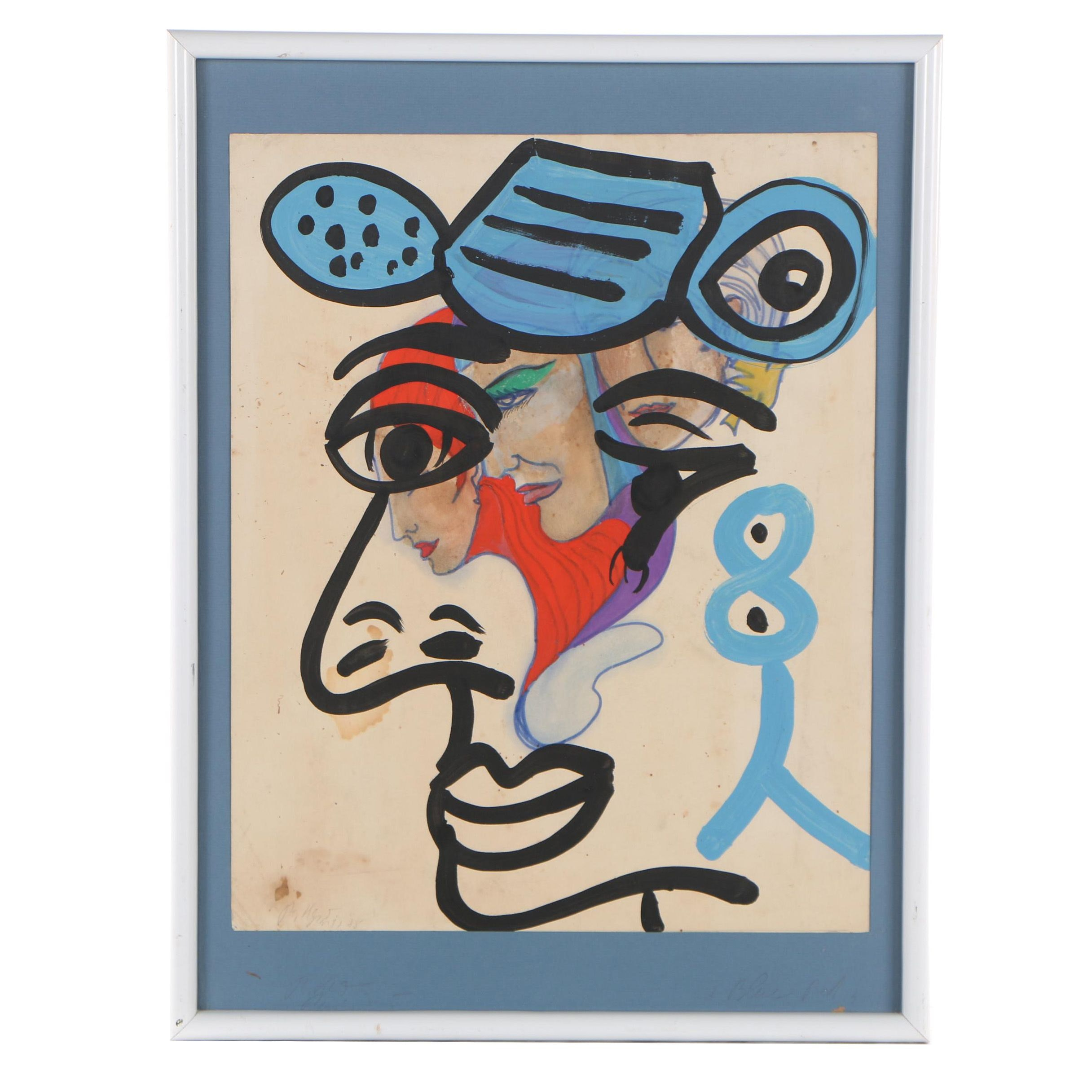 """Peter Keil 1975 Abstract Acrylic Painting """"Blue Red"""""""