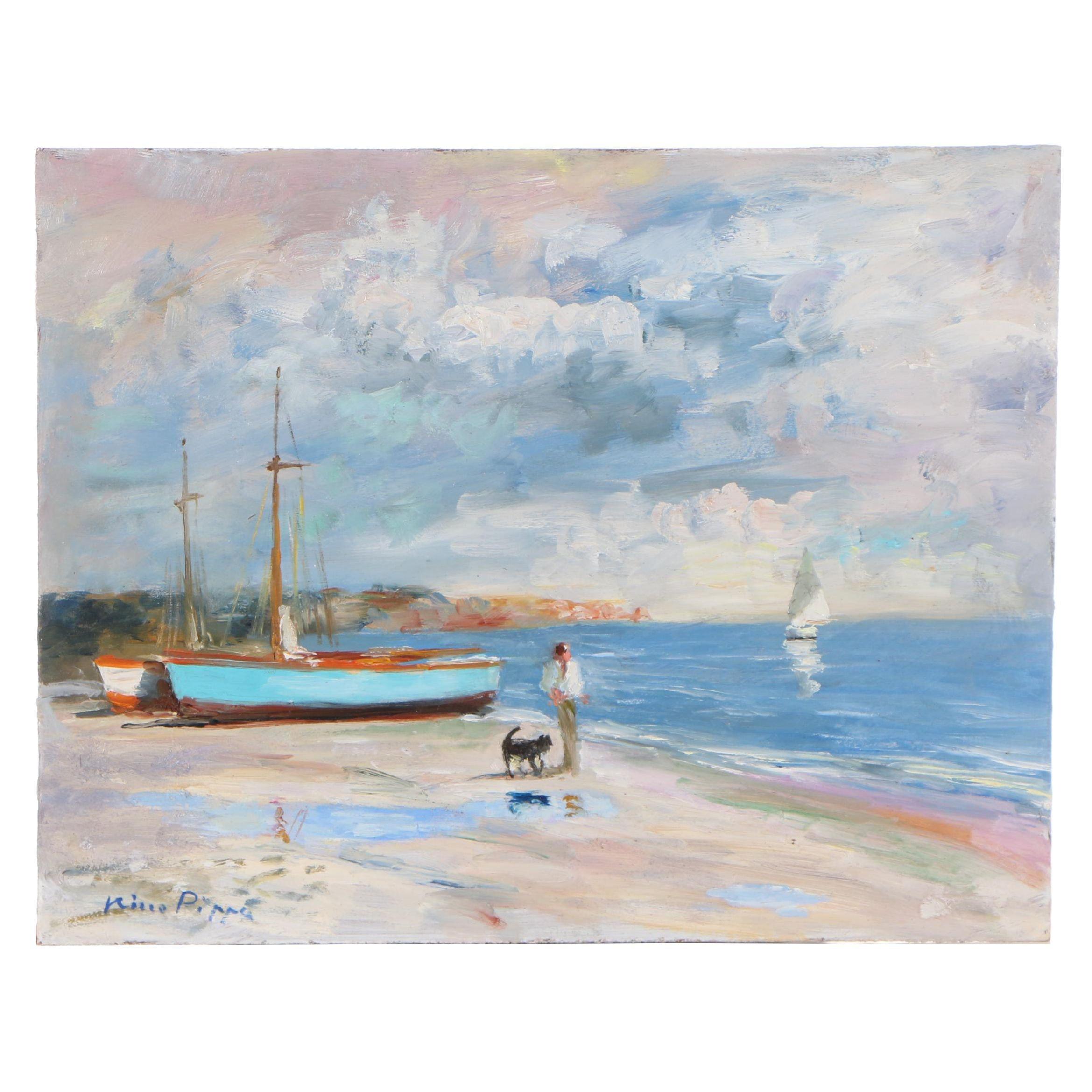 """Nino Pippa Oil Painting """"Best Friends Walking on a Low Tide"""""""